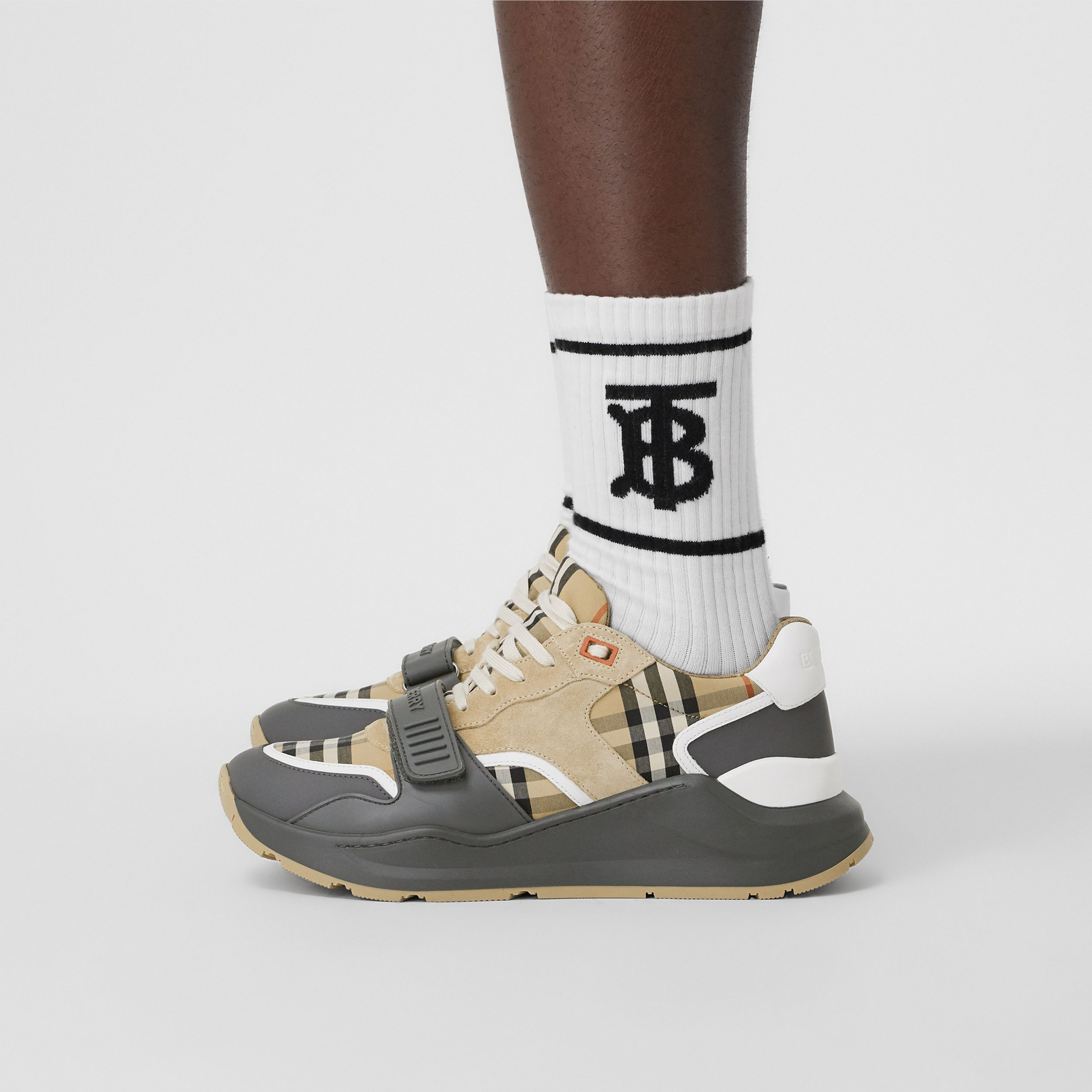 Vintage Check, Suede and Leather Sneakers in Grey/archive Beige - Men | Burberry United Kingdom - 3