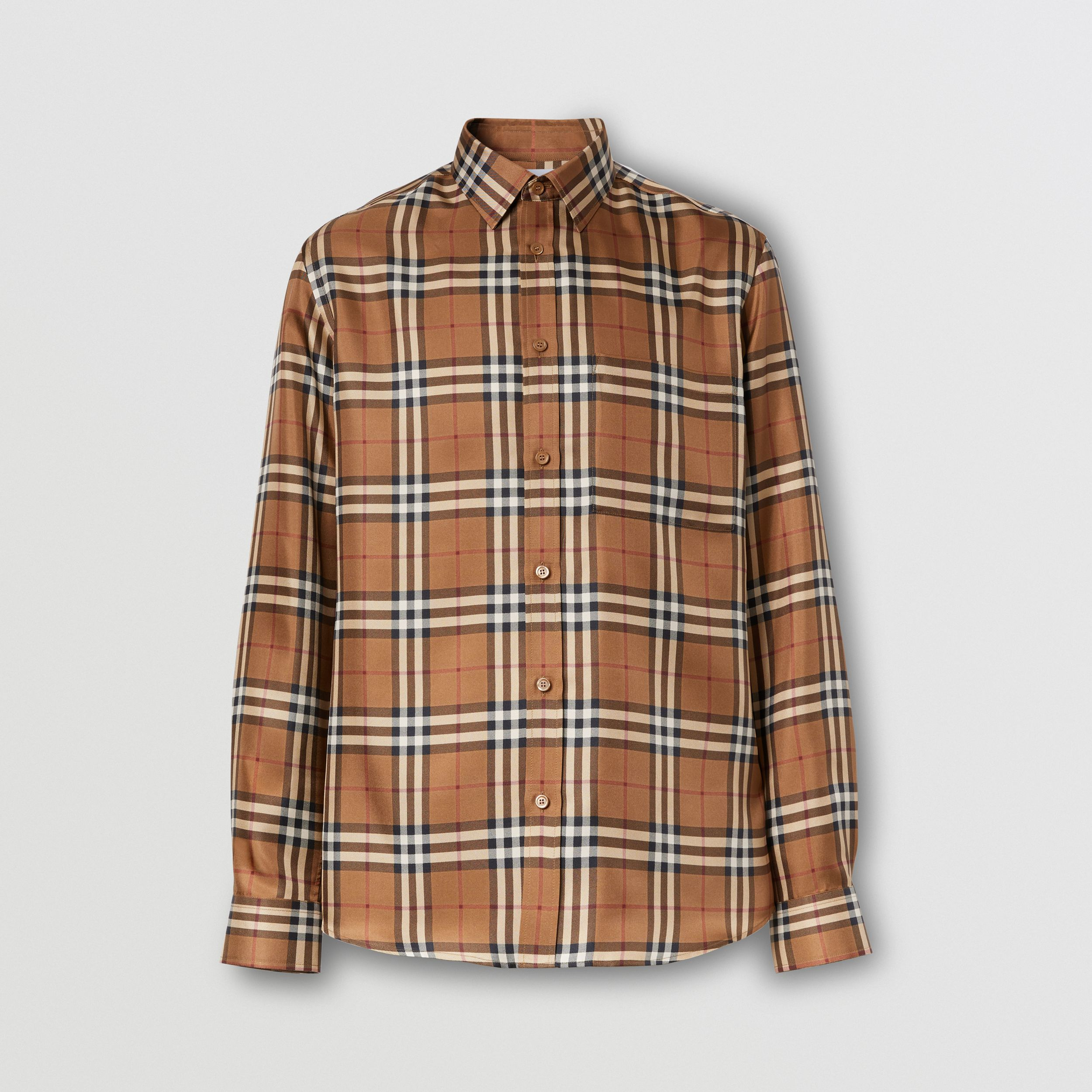 Slim Fit Vintage Check Silk Shirt in Birch Brown - Men | Burberry - 4