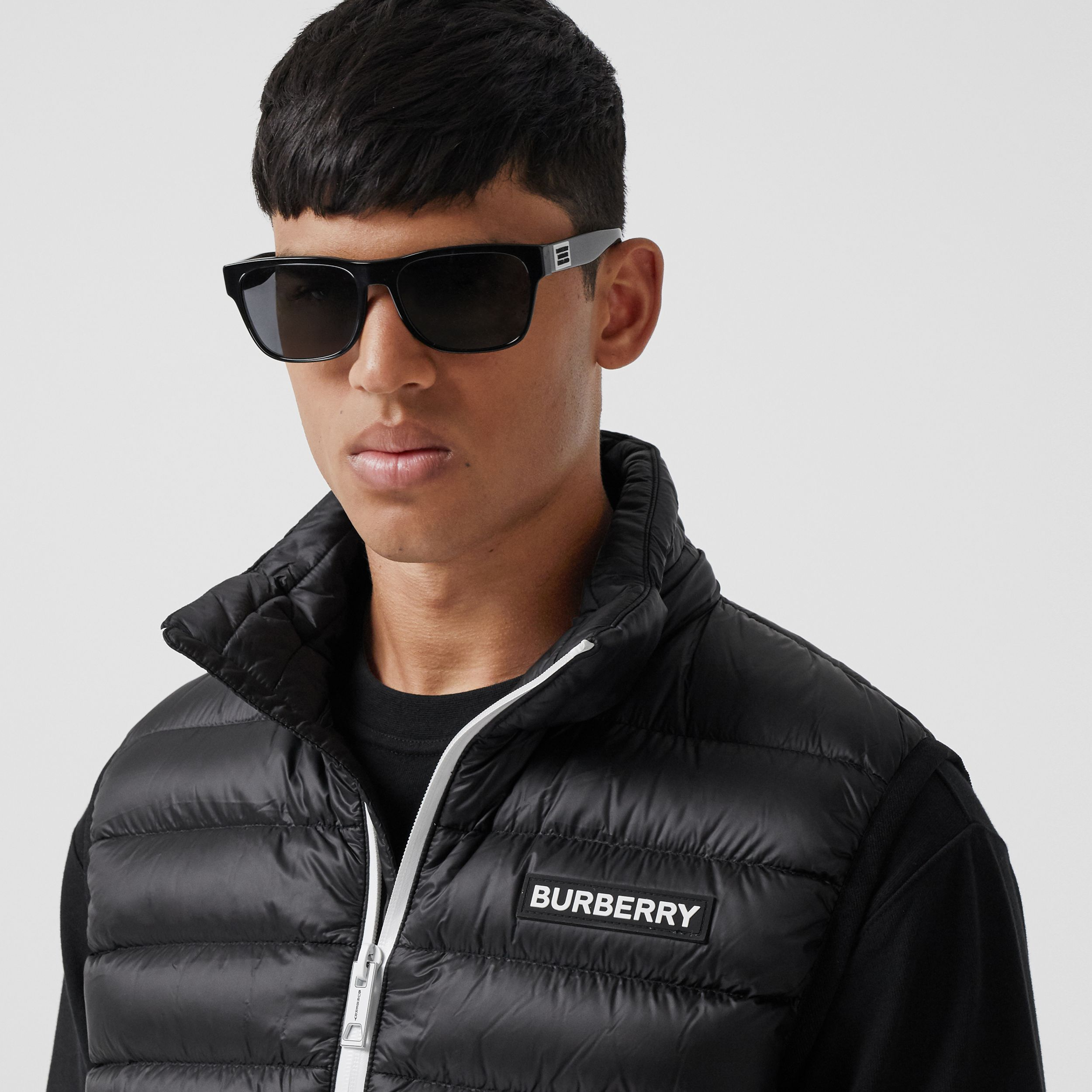 Detachable Hood Logo Appliqué Puffer Gilet in Black - Men | Burberry - 2