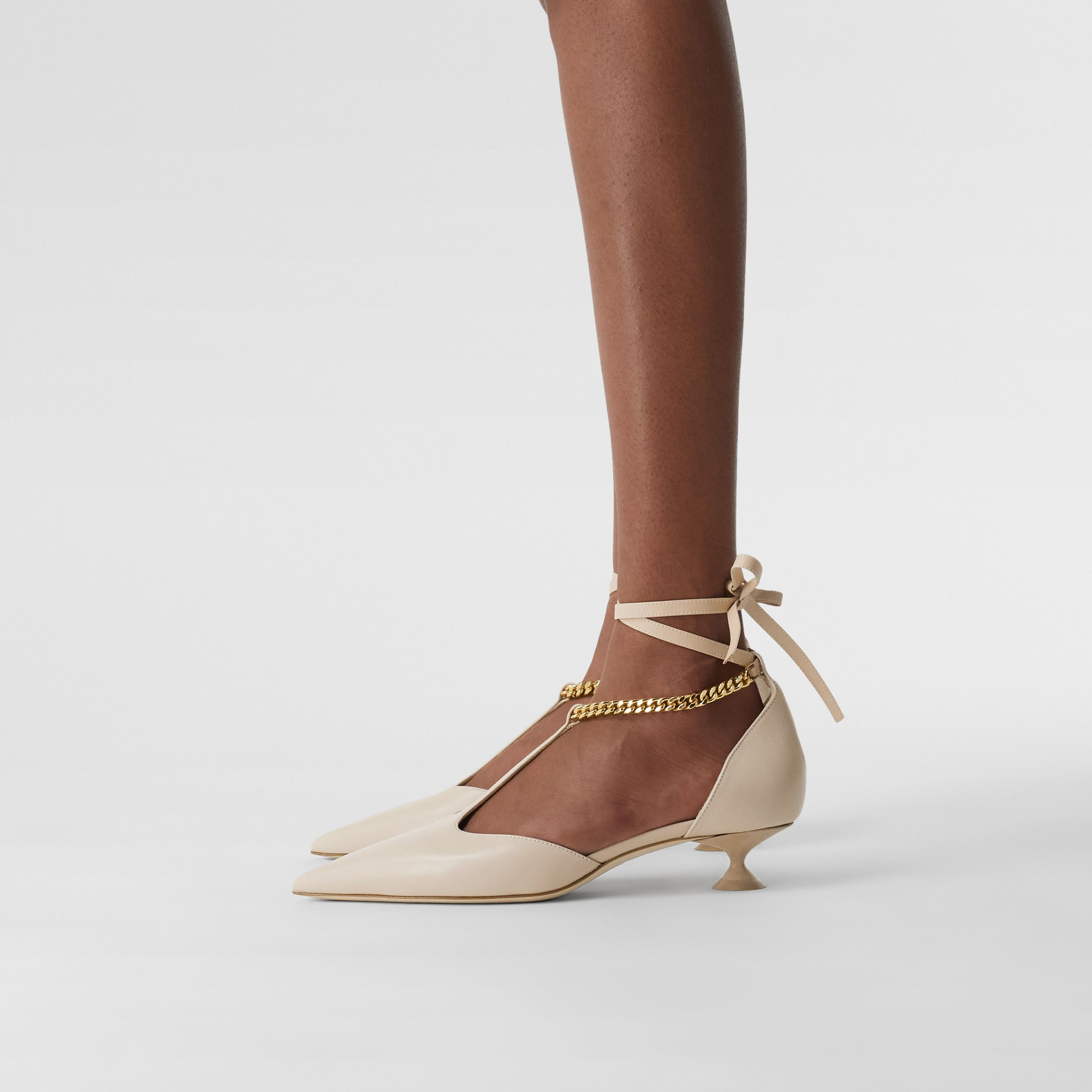 Chain Detail Lambskin Pumps in Nude - Women | Burberry - 3