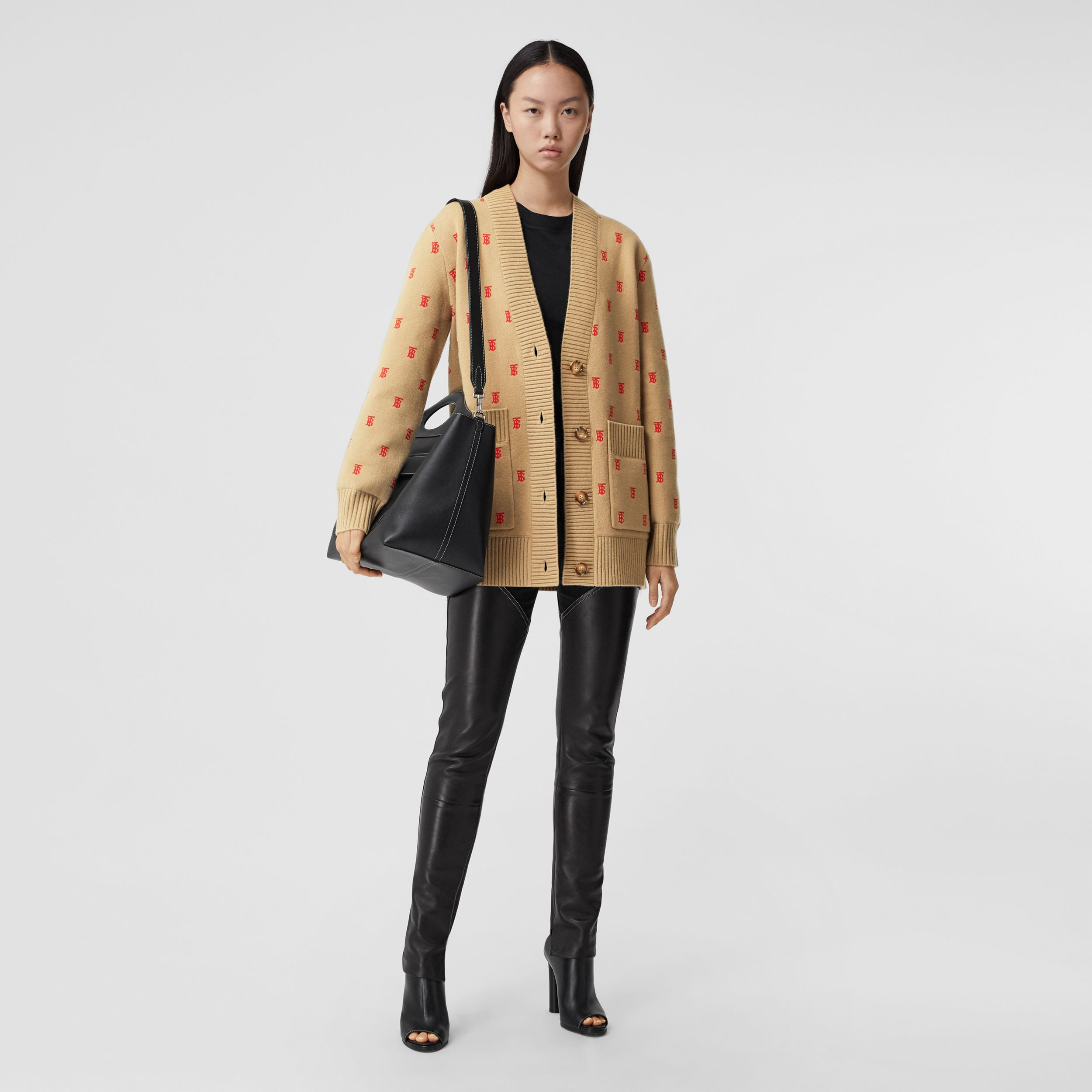 Monogram Wool Cashmere Blend Oversized Cardigan in Archive Beige - Women | Burberry - 1