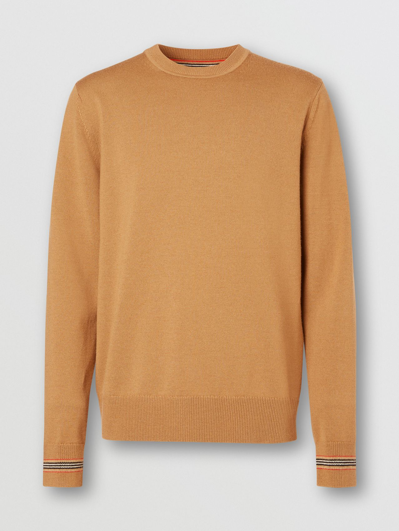 Icon Stripe Trim Merino Wool Sweater in Camel