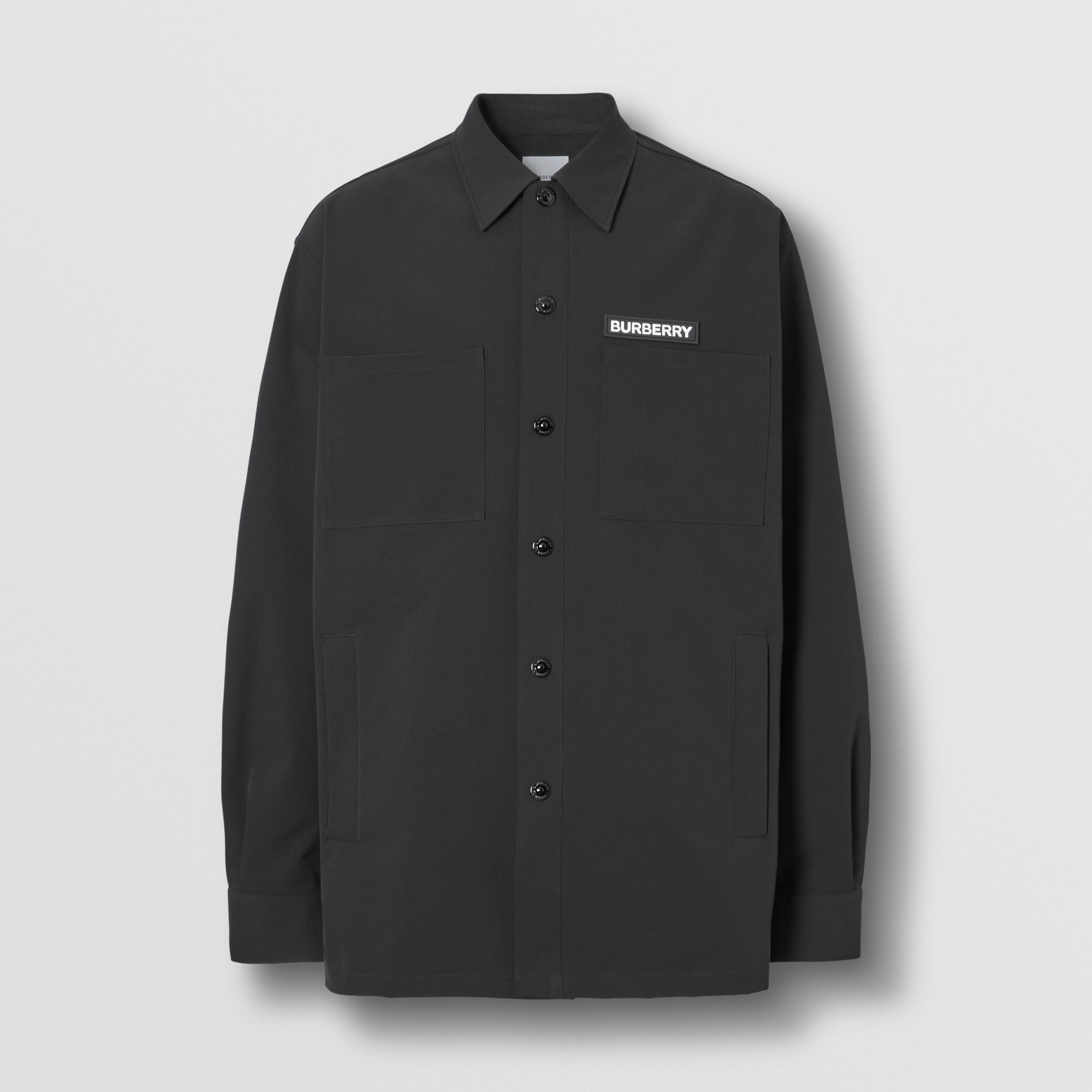 Embroidered Globe Graphic Shirt in Black - Men | Burberry Hong Kong S.A.R. - 4