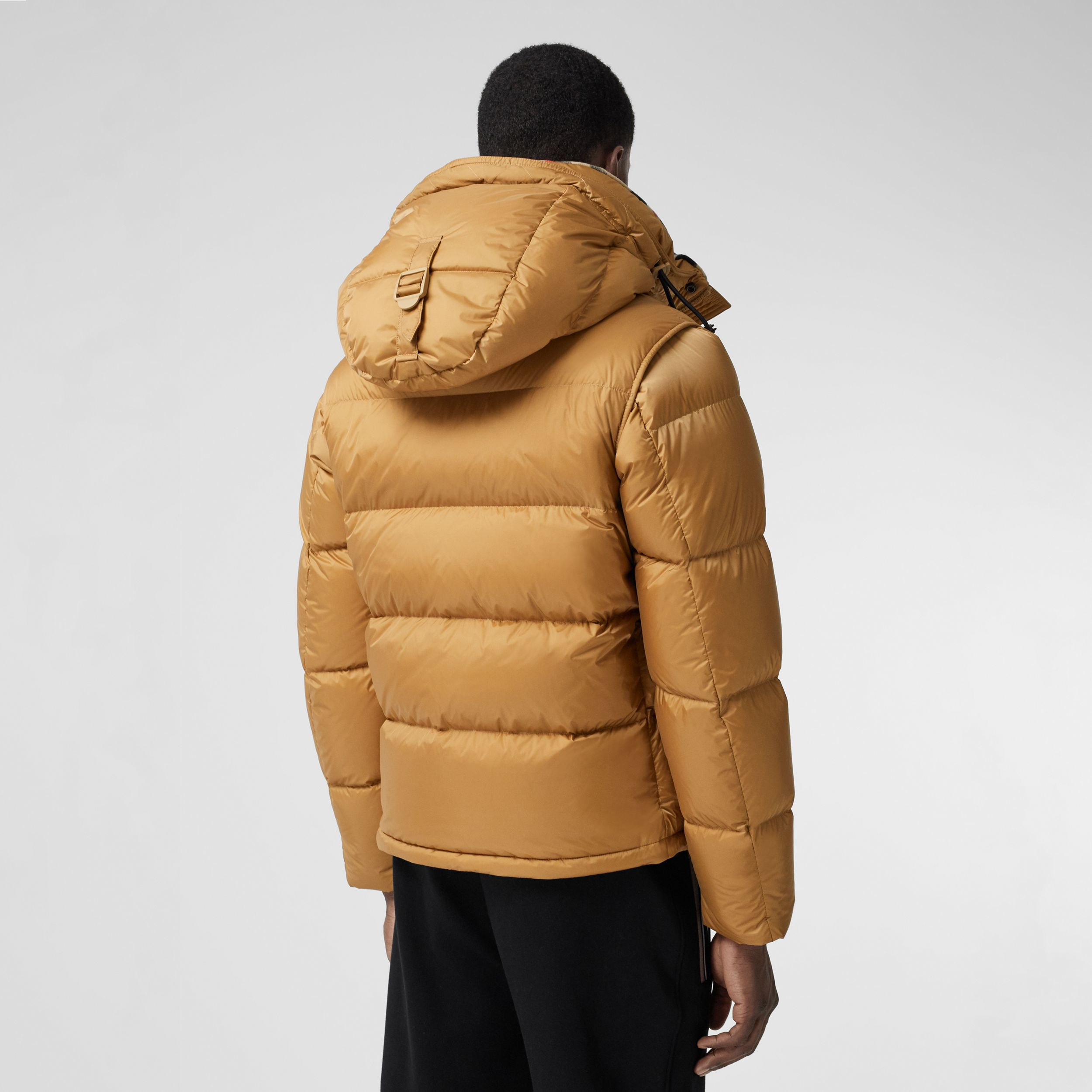 Detachable Sleeve Hooded Puffer Jacket in Warm Honey - Men | Burberry - 3