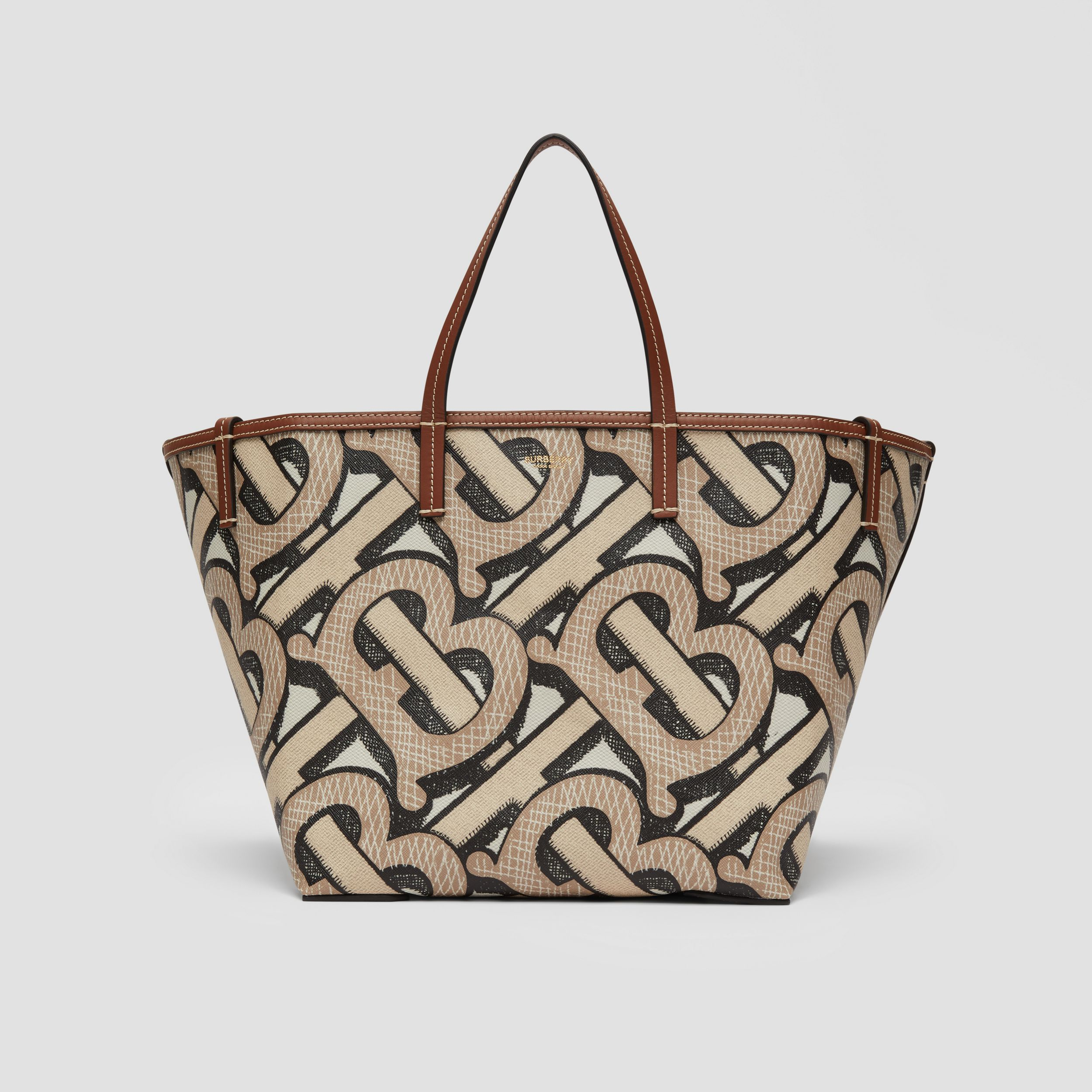 Mini Monogram Print E-canvas Beach Tote in Dark Beige | Burberry - 1