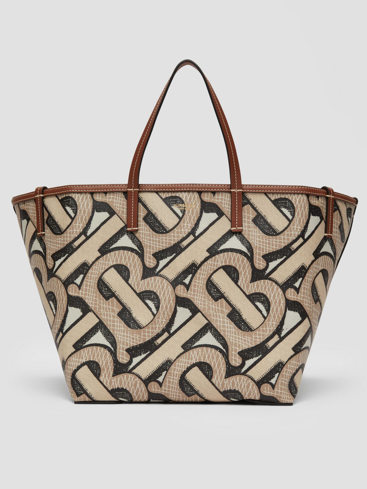 Mini Monogram Print E-canvas Beach Tote (Dark Beige)