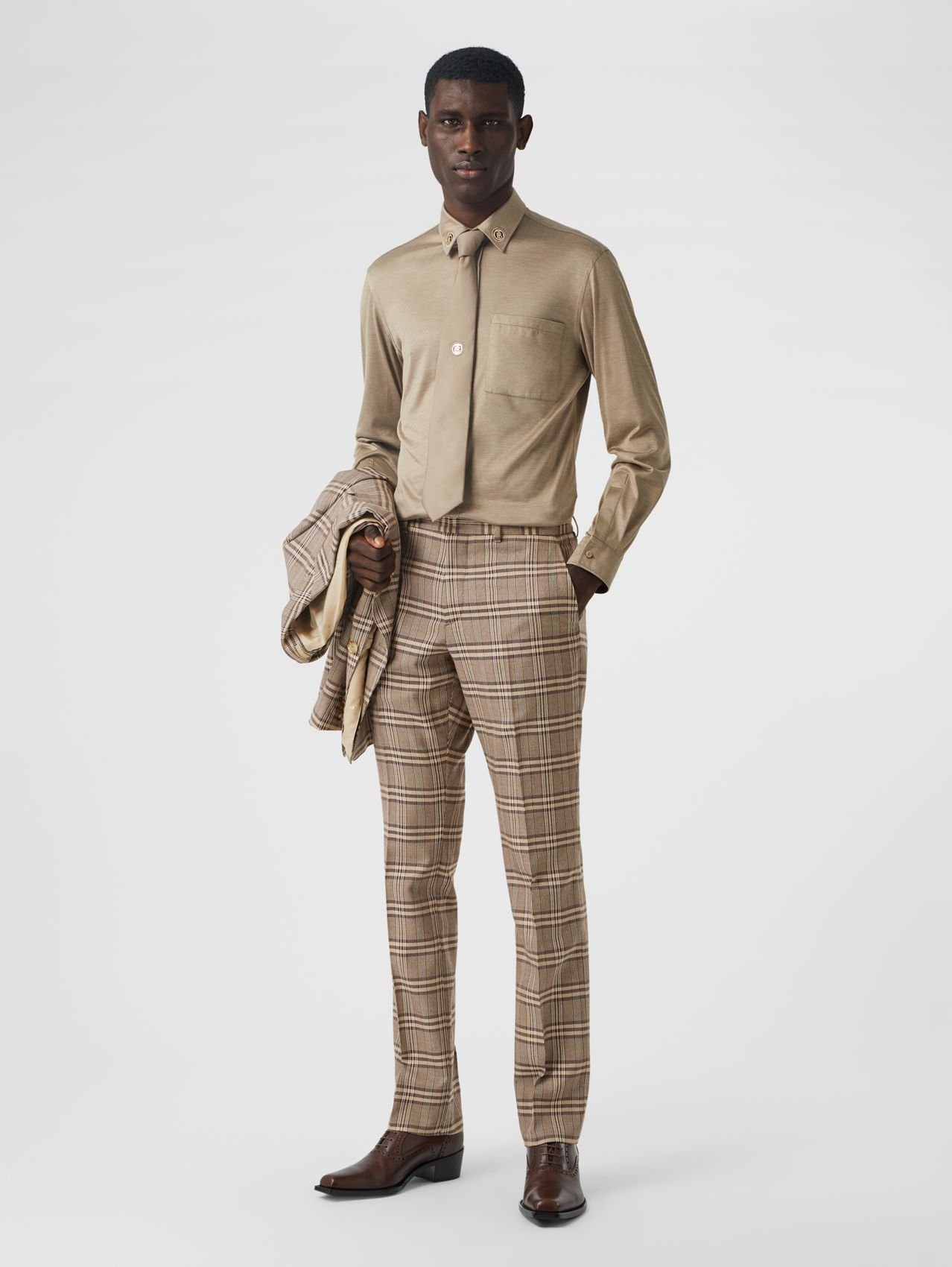 Prince of Wales Check Wool Silk Tailored Trousers in Dusty Caramel