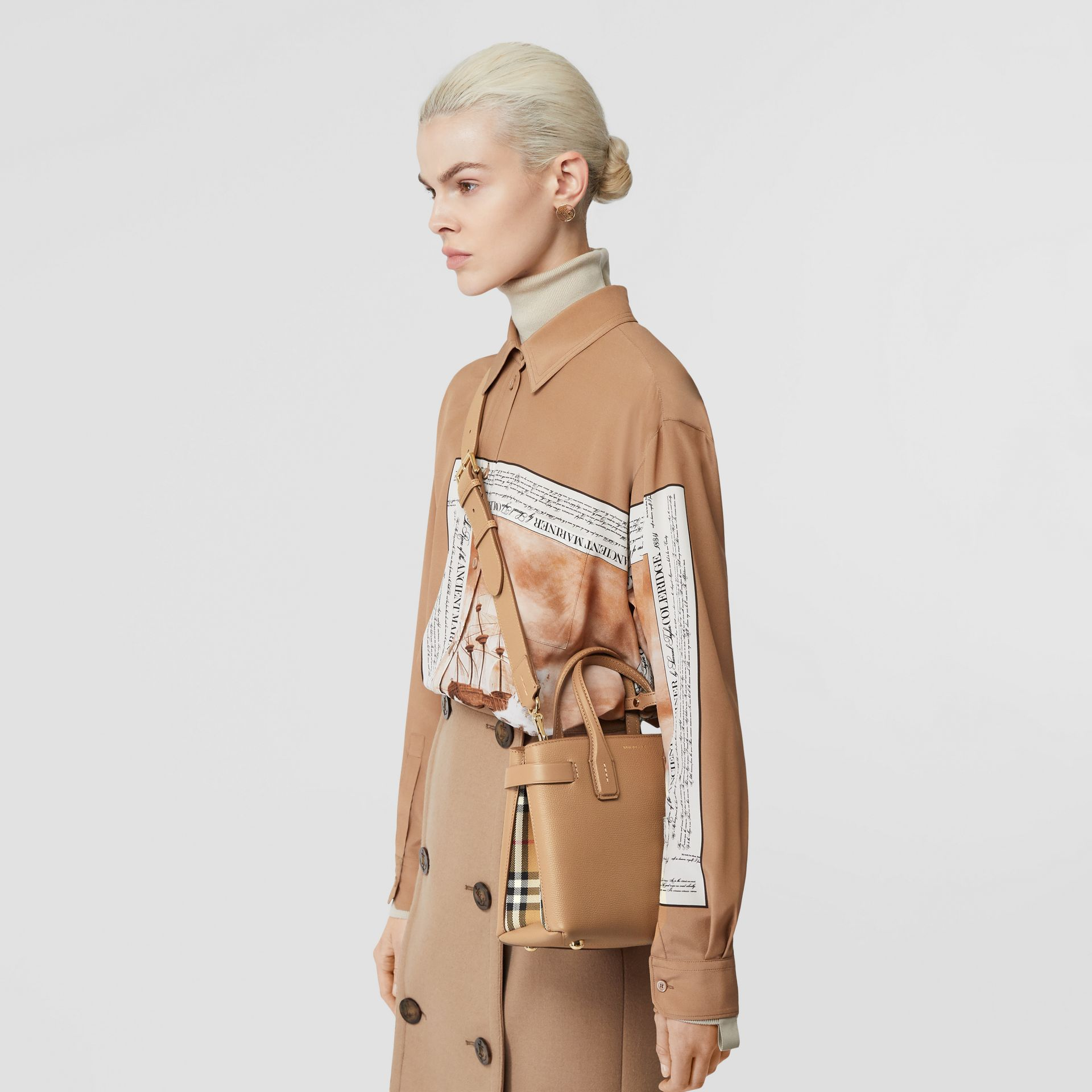 The Small Banner in Leather and Vintage Check in Camel - Women | Burberry - gallery image 8