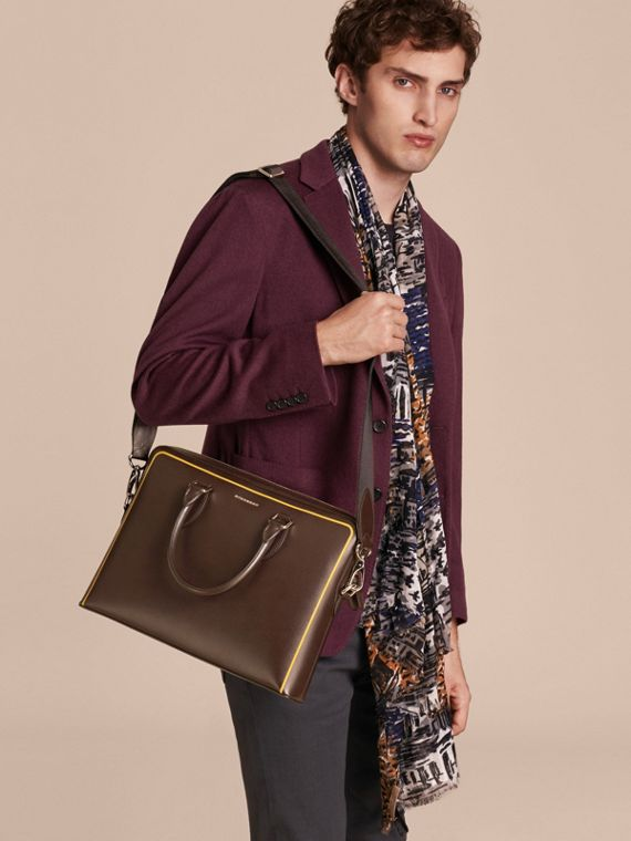 Sac The Barrow fin en cuir London avec bordure contrastante (Poivre) - Homme | Burberry - cell image 3