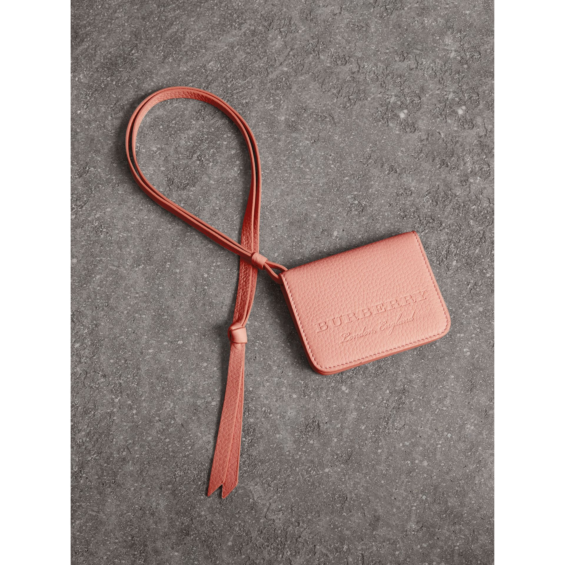 Embossed Leather ID Card Case Charm in Pale Ash Rose - Women | Burberry - gallery image 1