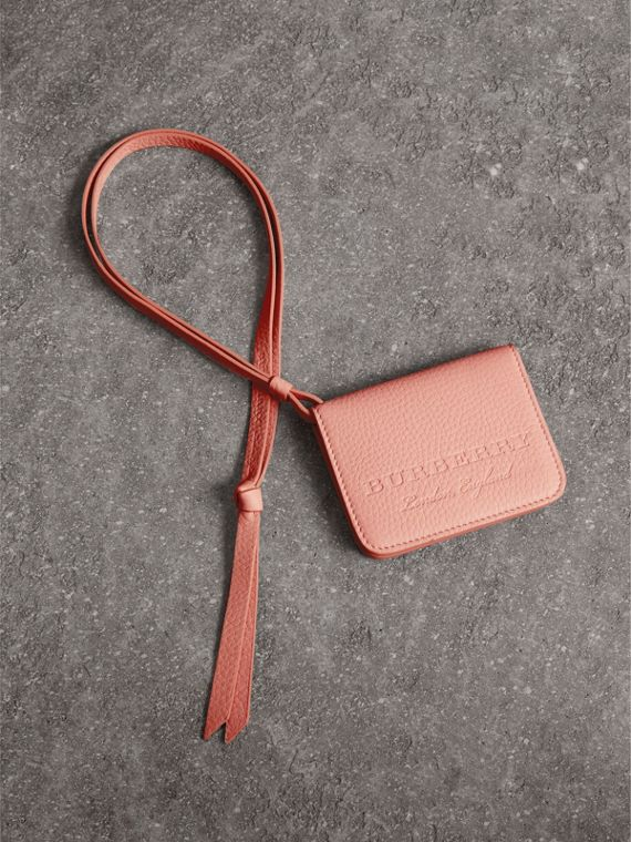 Embossed Leather ID Card Case Charm in Pale Ash Rose