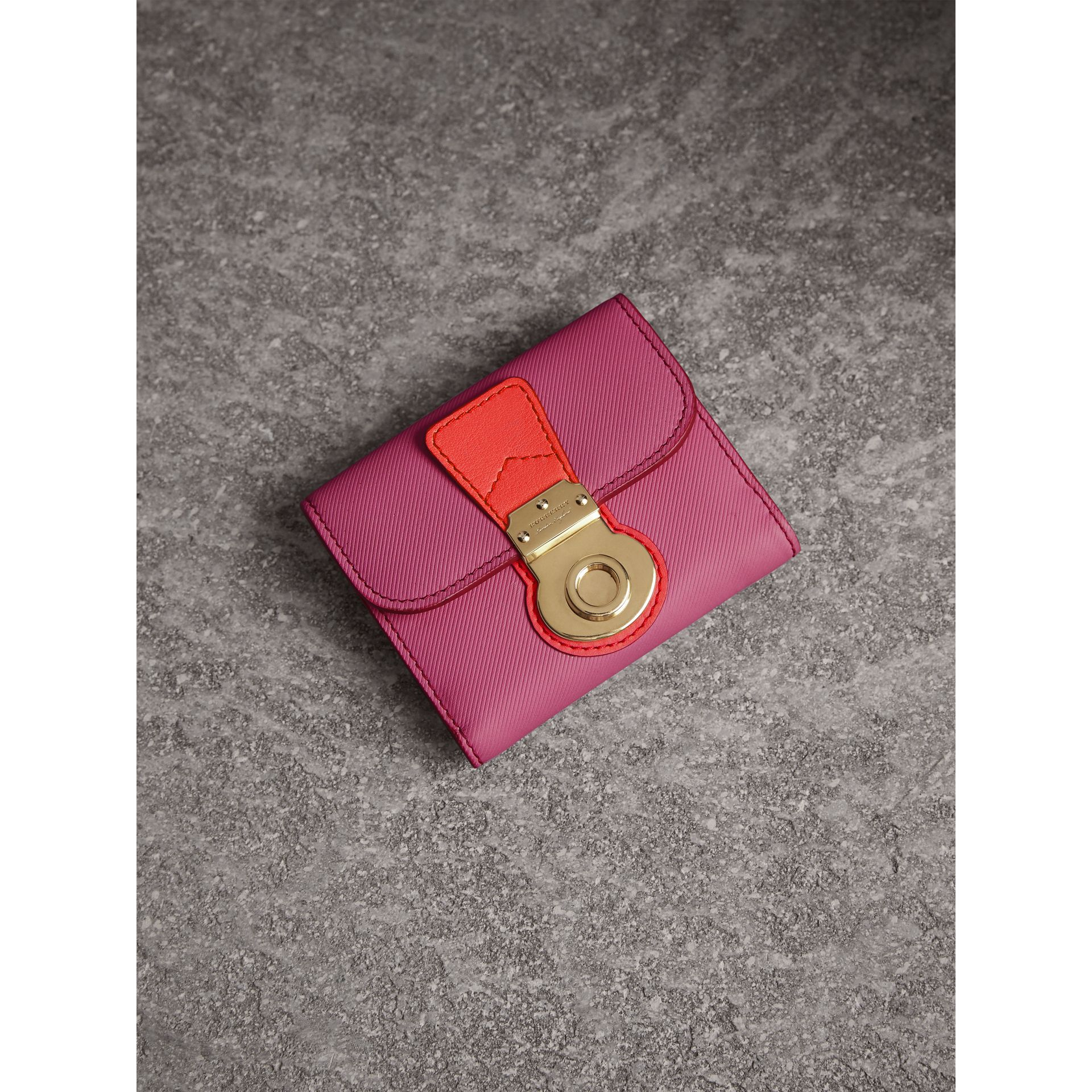 Trench Leather Wallet in Rose Pink - Women | Burberry - gallery image 1