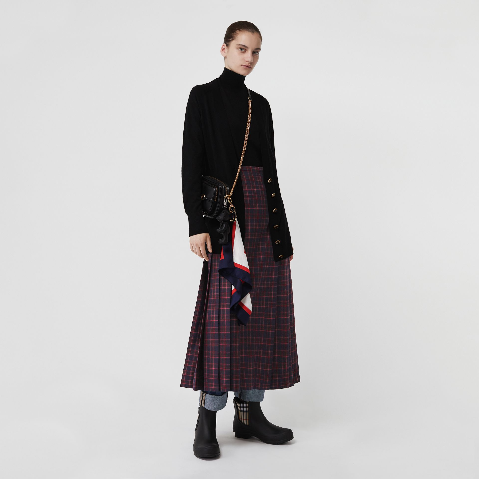 Tartan Wool Long Kilt in Navy - Women | Burberry - gallery image 0