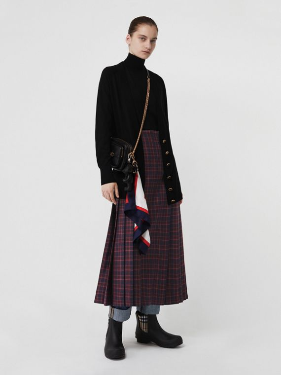 Tartan Wool Long Kilt in Navy