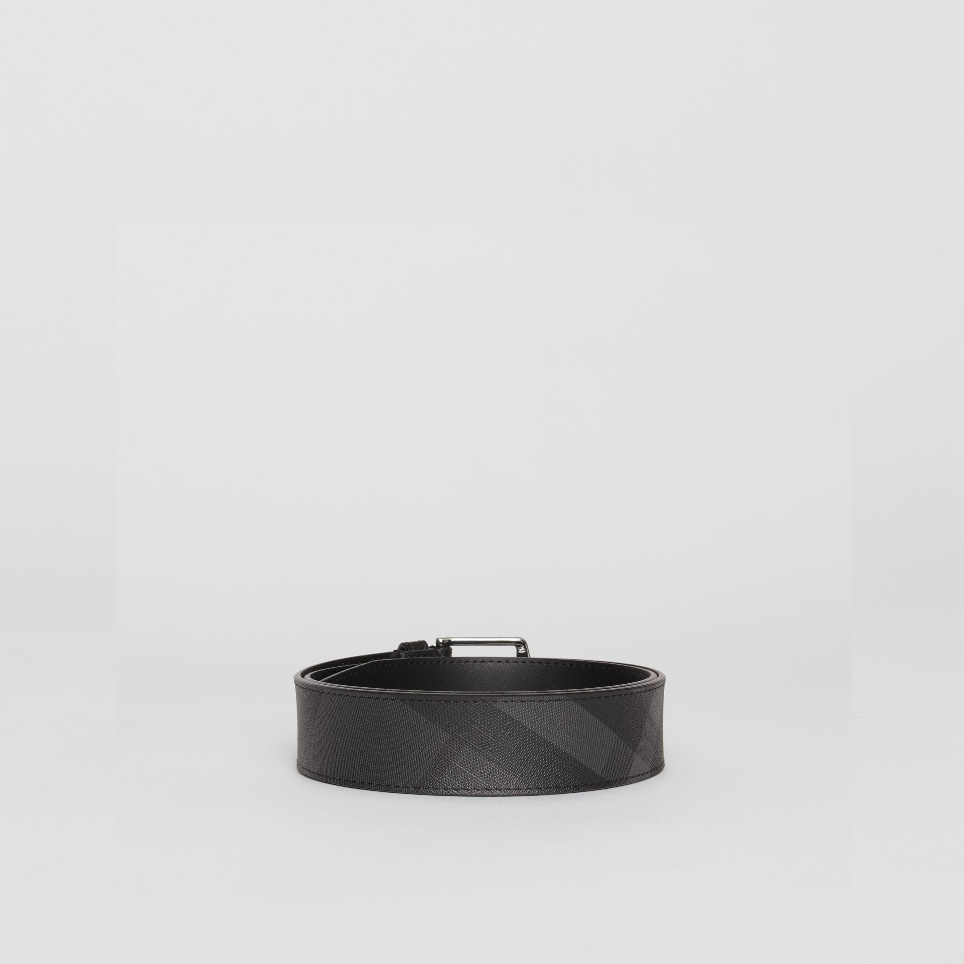 Leather Trim London Check Belt in Charcoal/black - Men | Burberry - gallery image 4