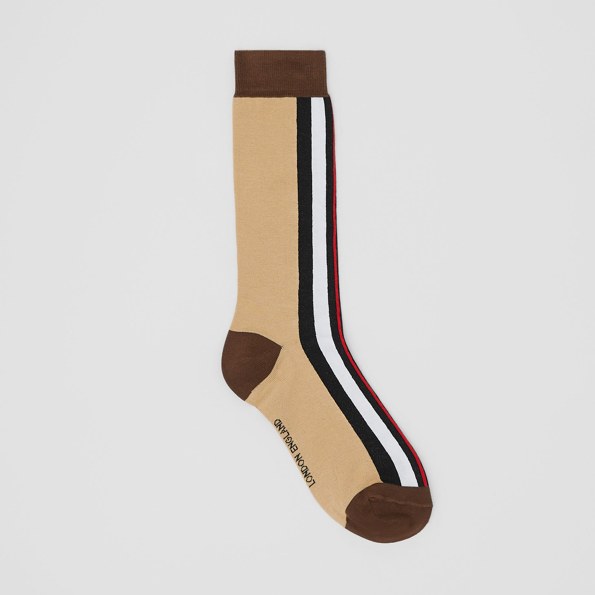 Stripe Intarsia Cotton Blend Socks in Bridle Brown | Burberry Singapore - gallery image 0