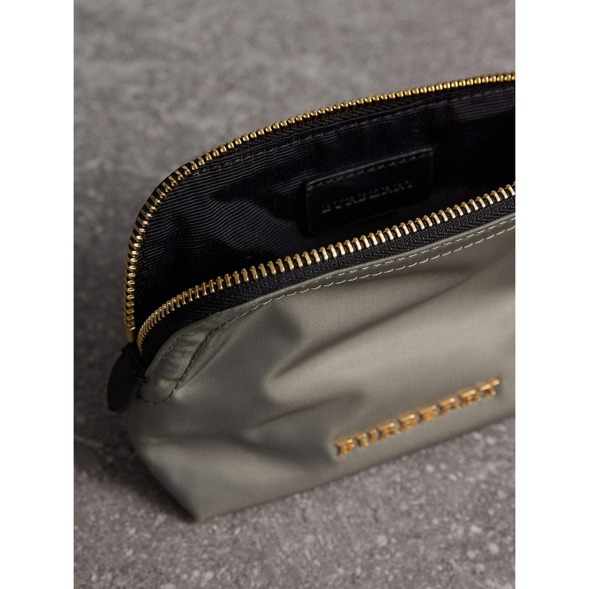 Small Zip-top Technical Nylon Pouch in Thistle Grey - Women | Burberry Australia - gallery image 4