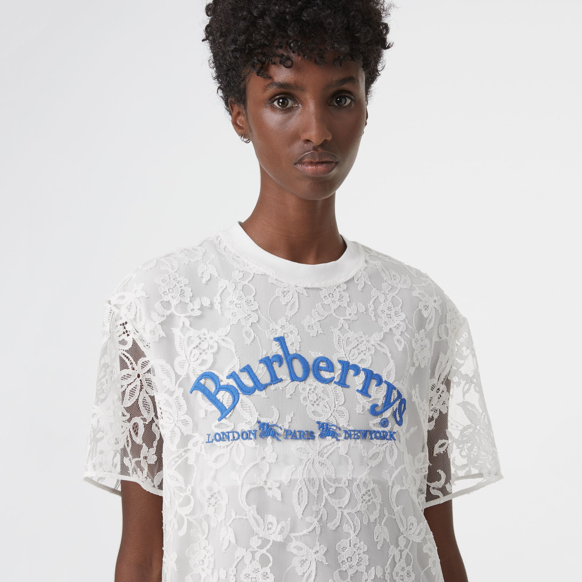 Embroidered Archive Logo Lace Dress in Natural White - Women | Burberry - gallery image 1