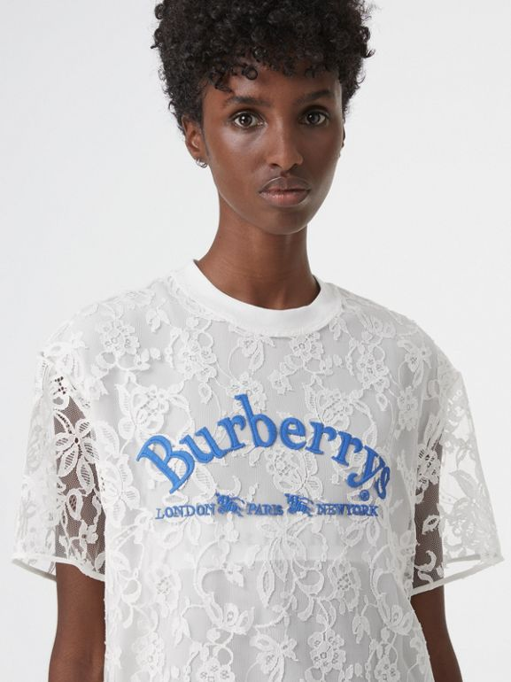 Embroidered Archive Logo Lace Dress in Natural White - Women | Burberry - cell image 1