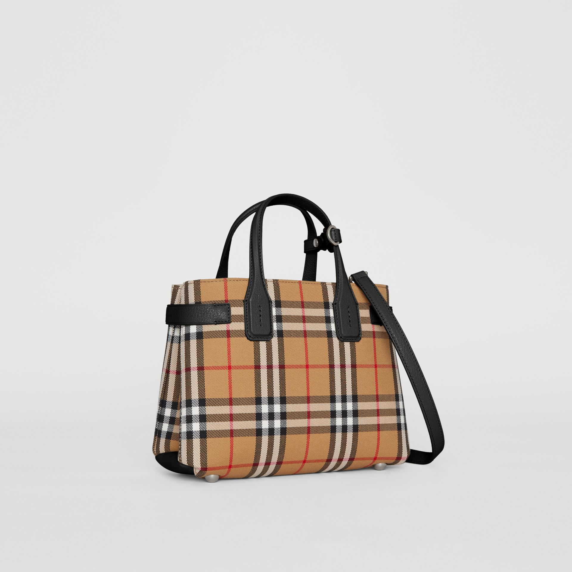 The Small Banner in Vintage Check and Leather in Black - Women | Burberry United Kingdom - gallery image 0