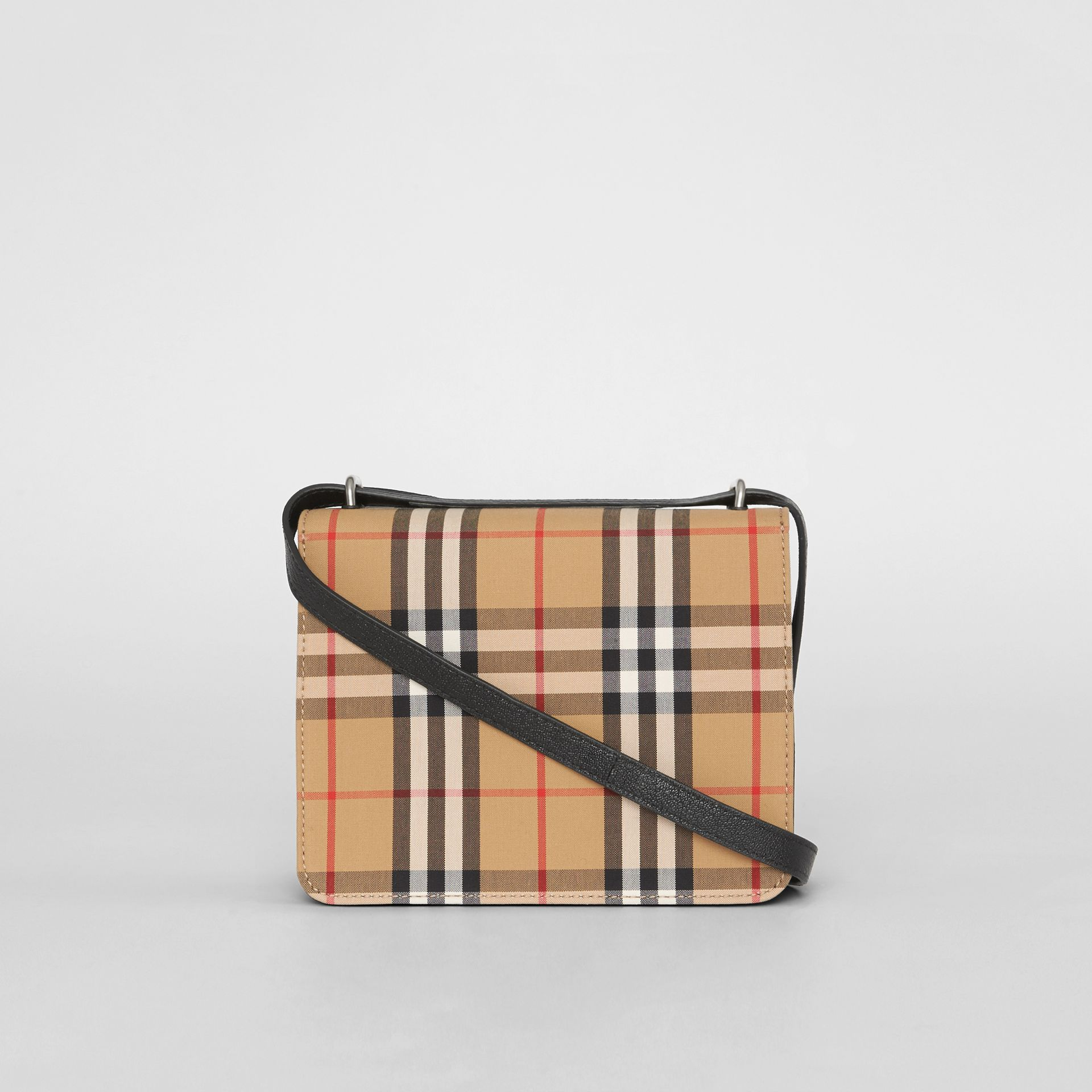 The Small Vintage Check and Leather D-ring Bag in Black/antique Yellow - Women | Burberry Canada - gallery image 7