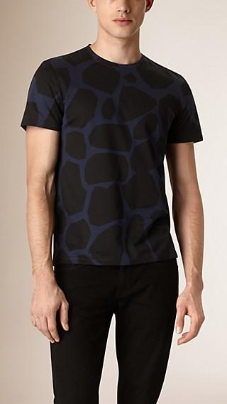 T-shirt en coton à imprimé fauve géométrique