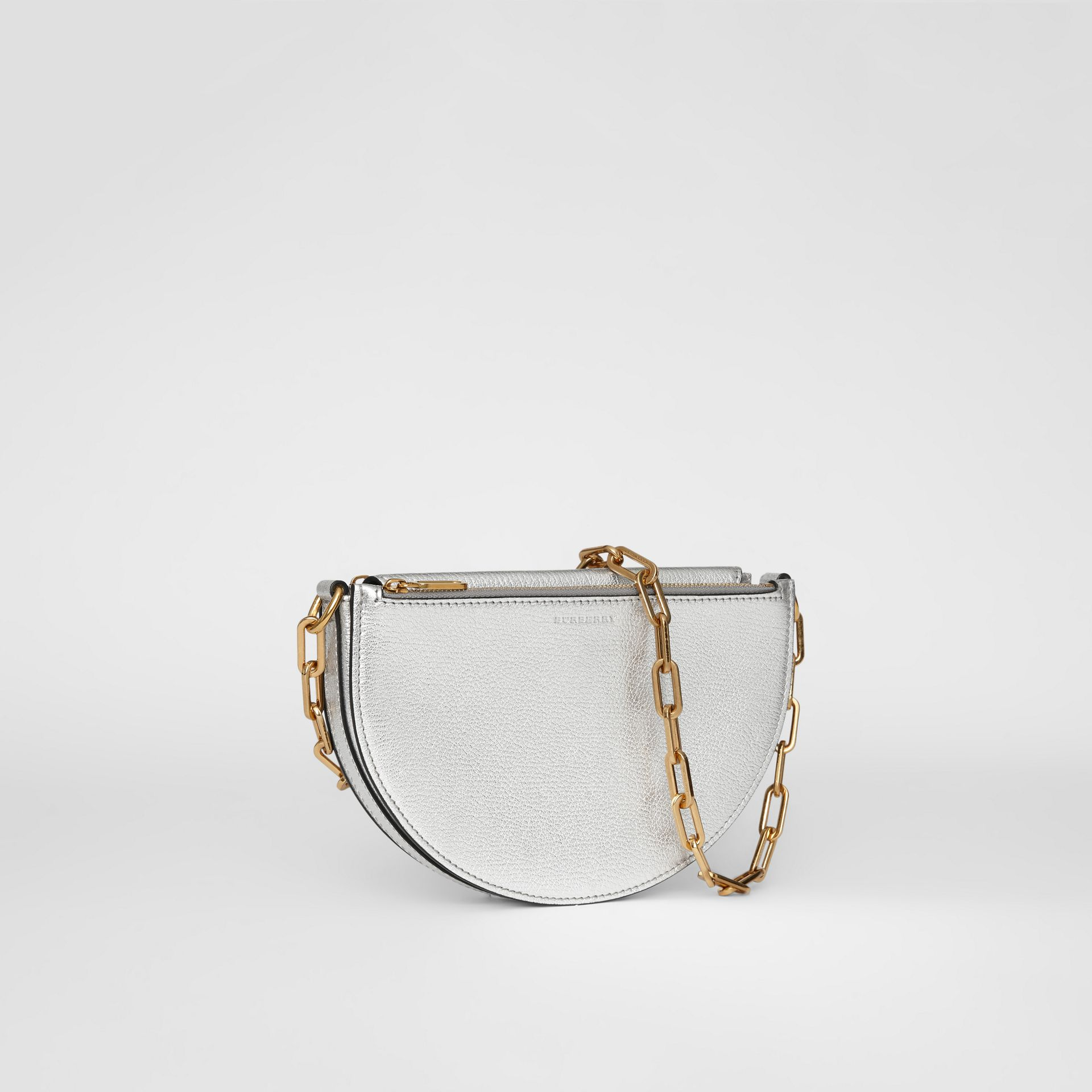 The Small Metallic Leather D Bag in Silver - Women | Burberry United Kingdom - gallery image 5