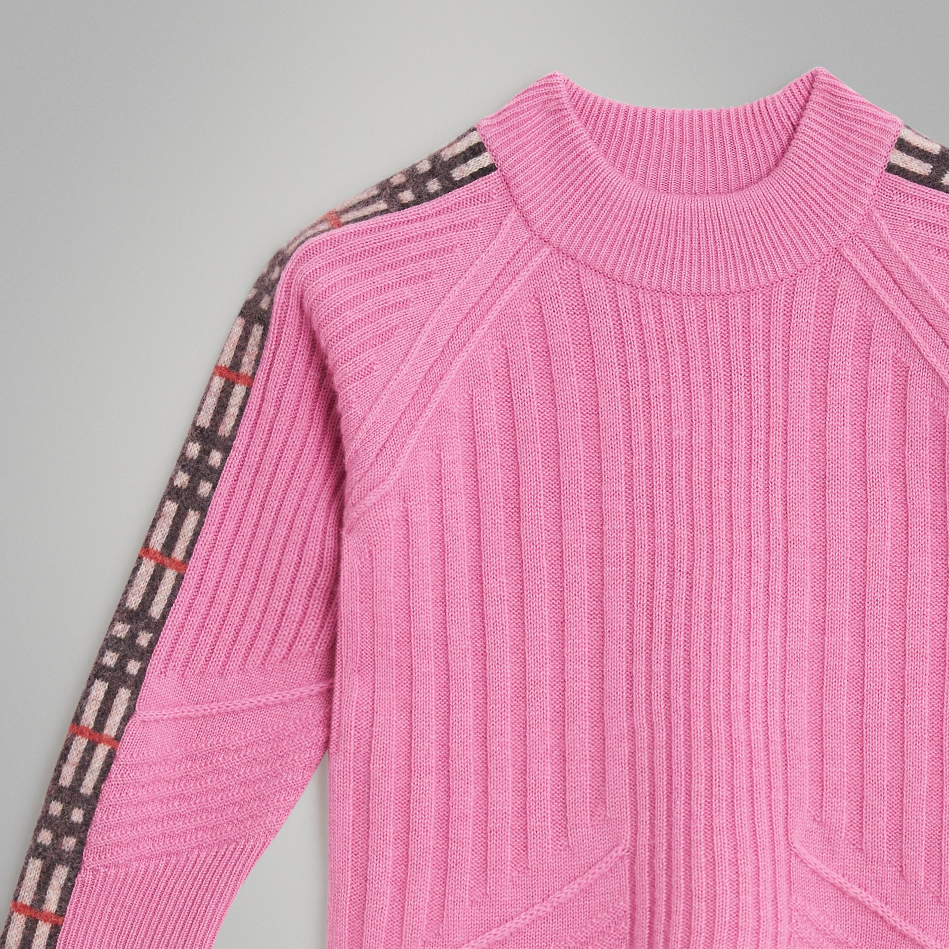 Check Detail Wool Cashmere Sweater in Rose Pink | Burberry Canada - gallery image 4