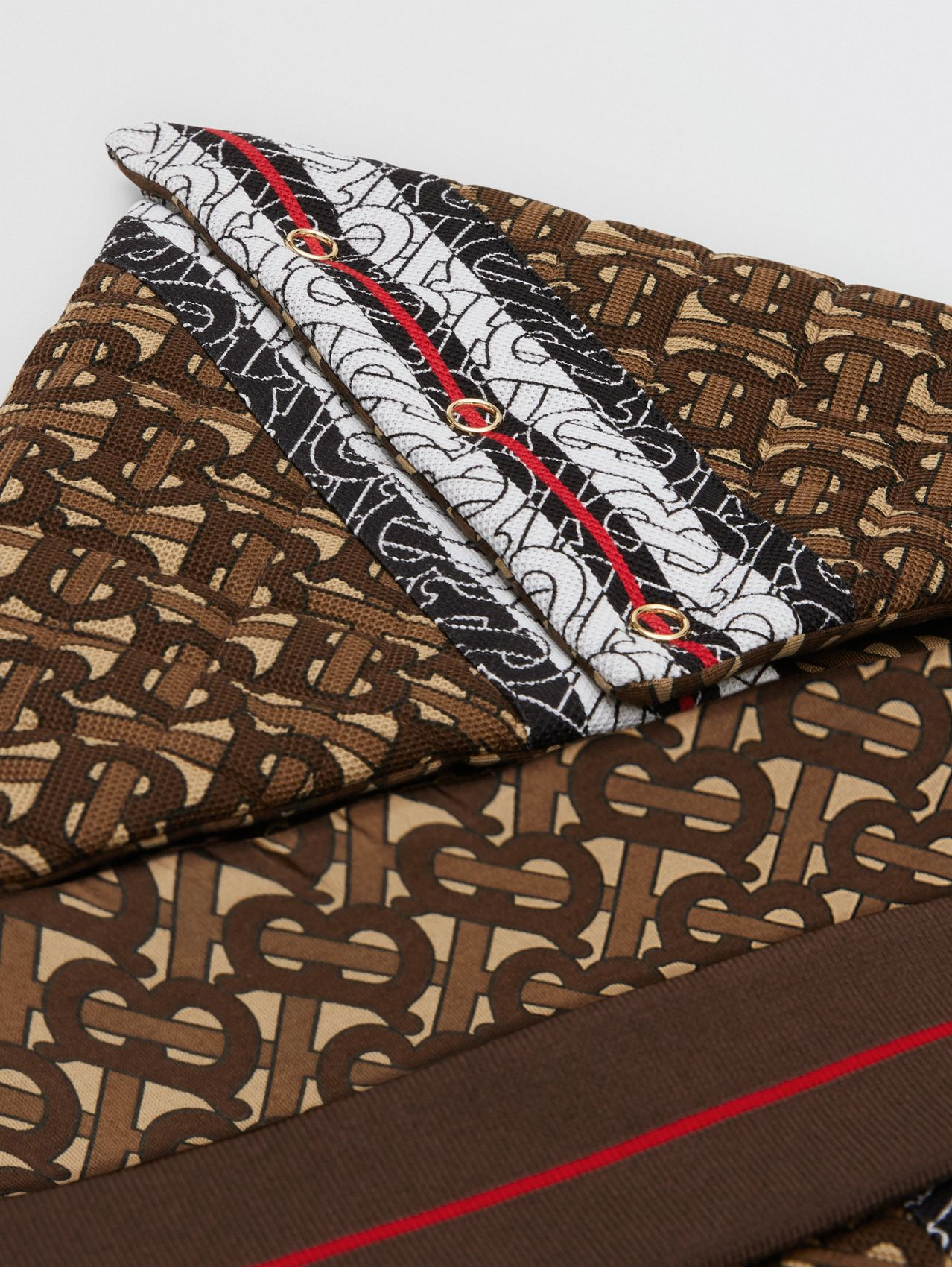 Monogram Stripe Print Cotton Piqué Baby Nest in Bridle Brown