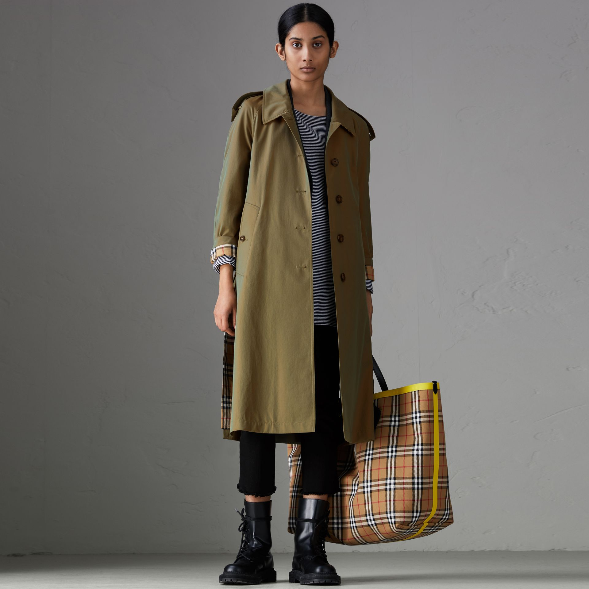 Side-slit Tropical Gabardine Trench Coat in Bright Olive - Women | Burberry Australia - gallery image 0