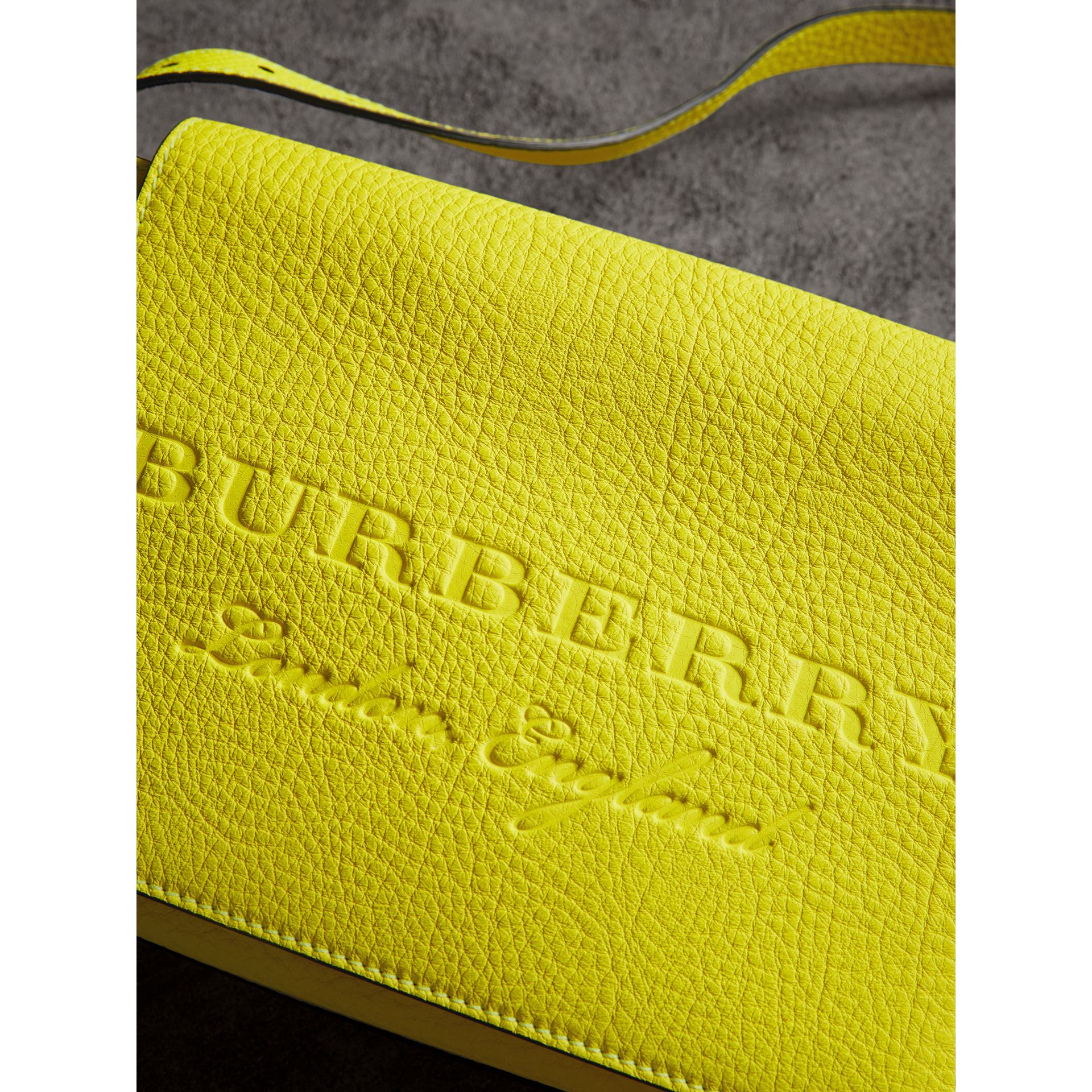 Small Embossed Neon Leather Messenger Bag in Yellow | Burberry - gallery image 1