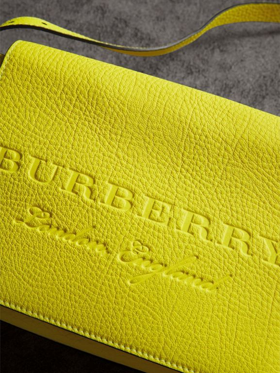 Small Embossed Neon Leather Messenger Bag in Yellow | Burberry - cell image 1