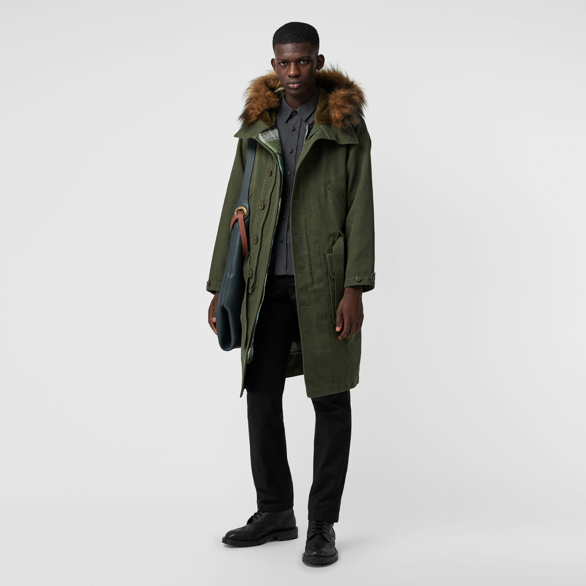 Double-faced Cotton Silk Hooded Parka with Warmer in Olive - Men | Burberry - gallery image 0