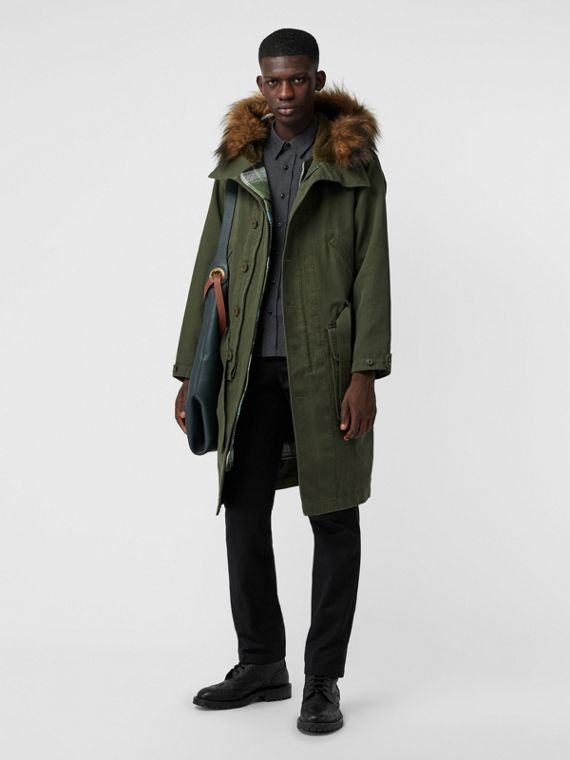 Double-faced Cotton Silk Hooded Parka with Warmer in Olive