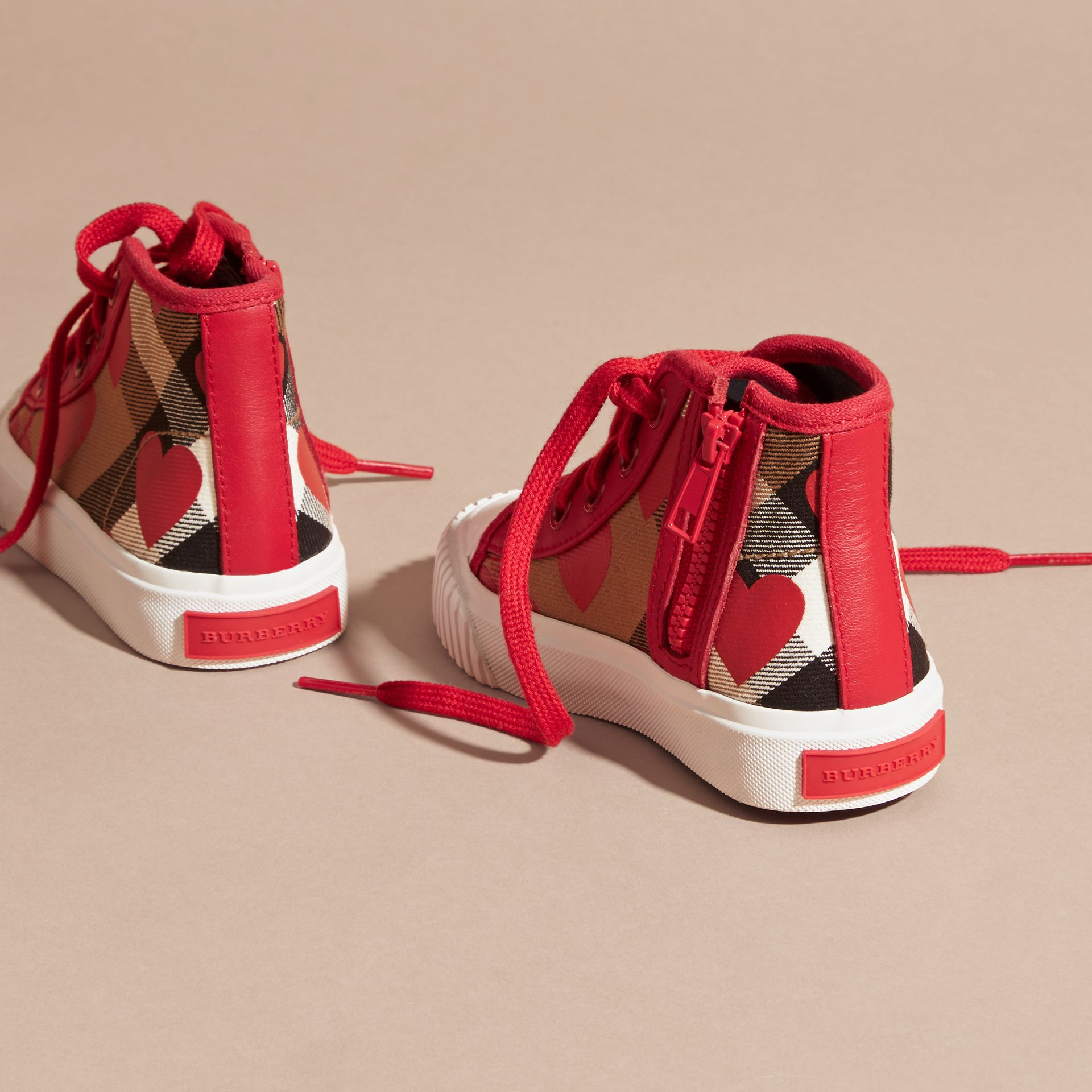 Military red Leather Trim Heart Print Check High-top Trainers Military Red - gallery image 4