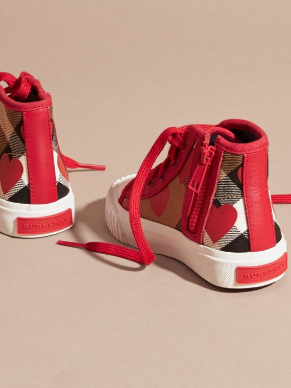 Military red Leather Trim Heart Print Check High-top Trainers Military Red - cell image 3