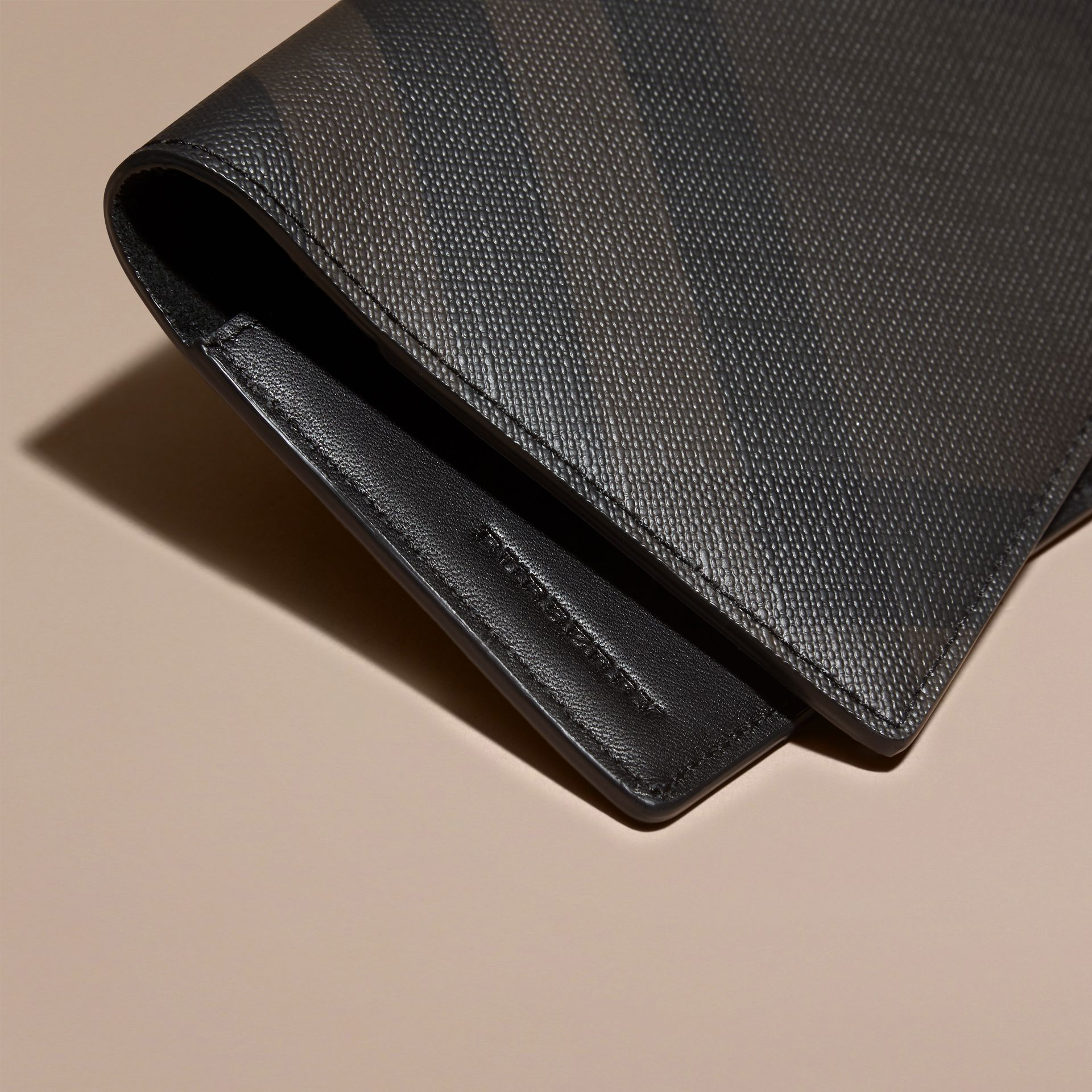 London Check and Leather Passport Holder in Chocolate/black - Men | Burberry - gallery image 2