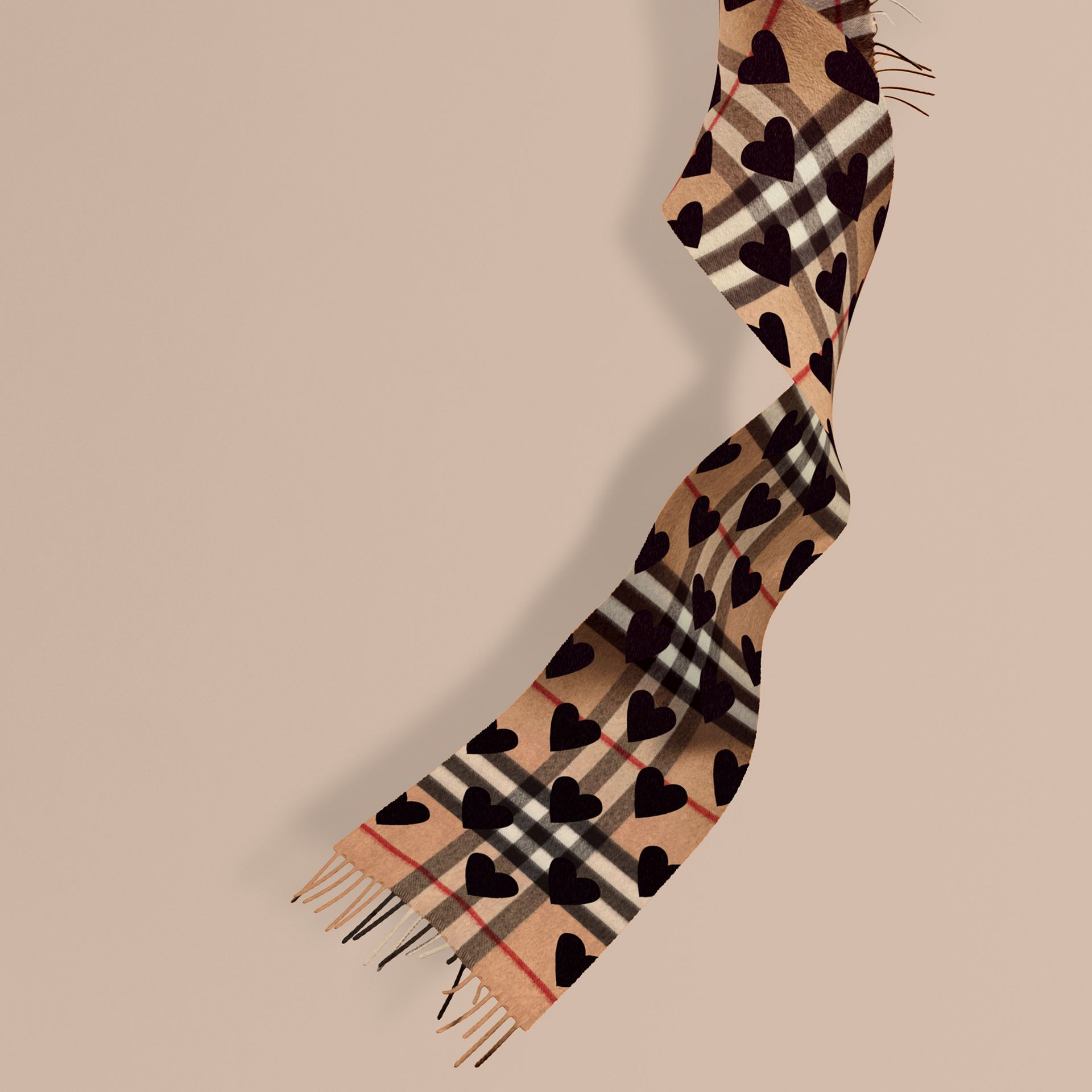 The Mini Classic Check Cashmere Scarf with Hearts in Black | Burberry - gallery image 1