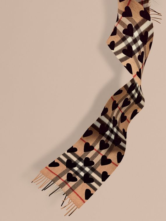 The Mini Classic Cashmere Scarf in Check and Hearts in Black | Burberry