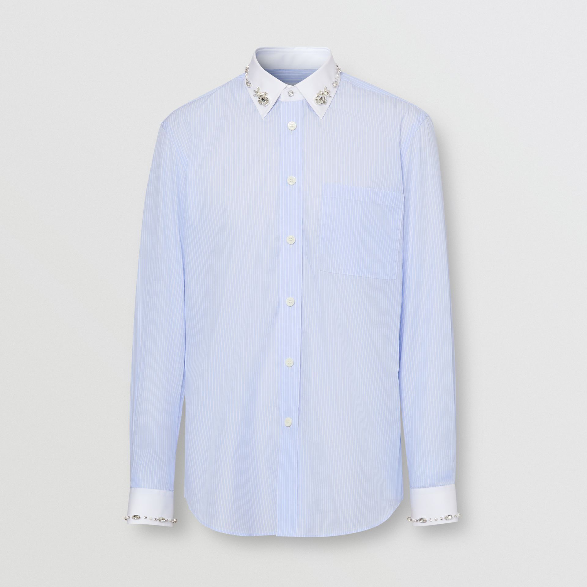 Classic Fit Embellished Pinstriped Cotton Shirt in Pale Blue - Men | Burberry - gallery image 3