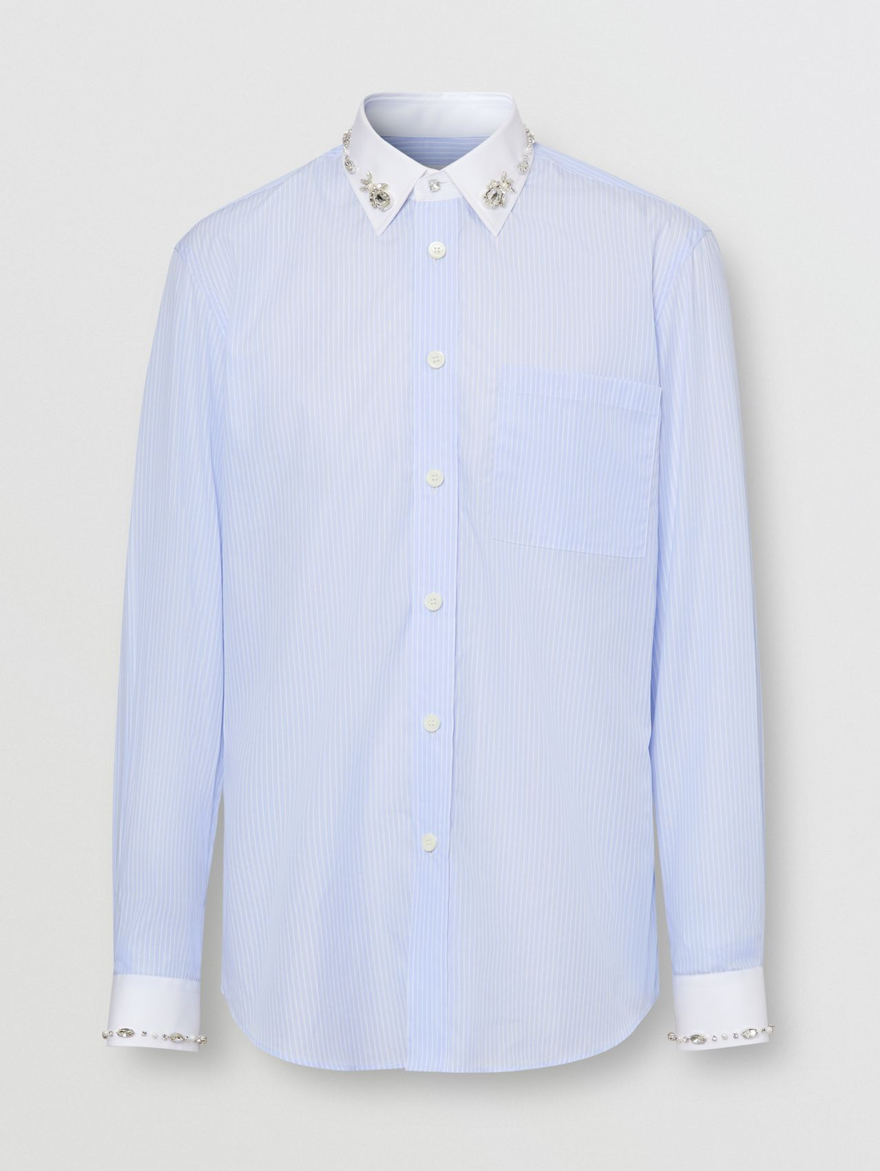 Classic Fit Embellished Pinstriped Cotton Shirt in Pale Blue