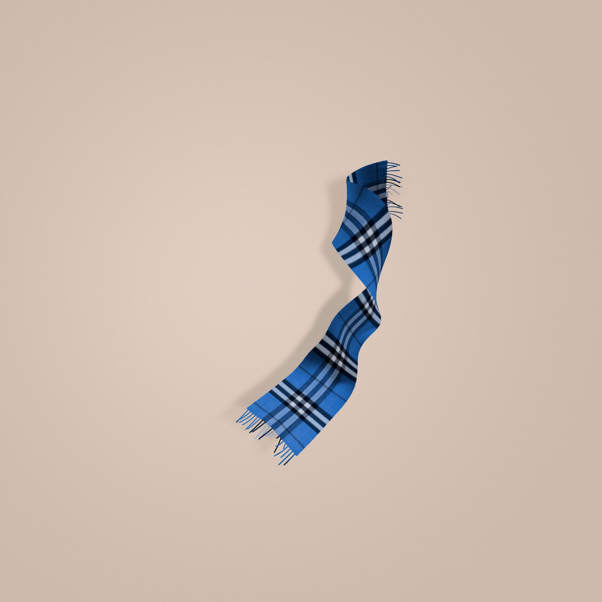 Cadet blue The Mini Classic Cashmere Scarf in Check Cadet Blue - gallery image 1