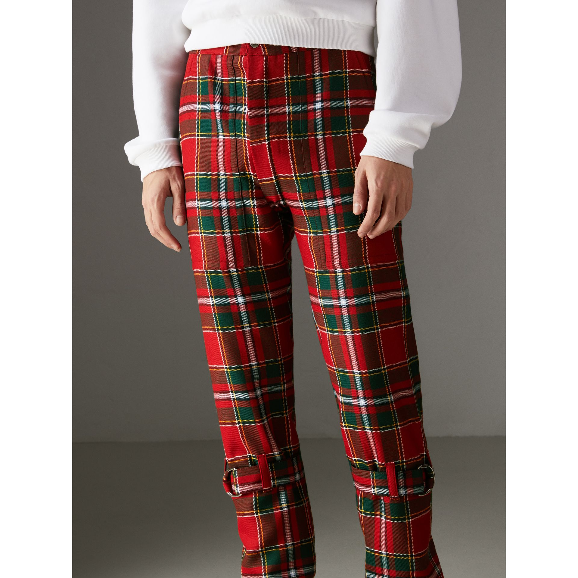 Modern Stewart Royal Tartan Punk Trousers in Bright Red | Burberry Australia - gallery image 4
