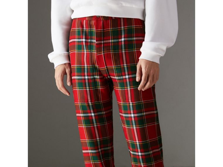 Modern Stewart Royal Tartan Punk Trousers in Bright Red | Burberry Australia - cell image 4
