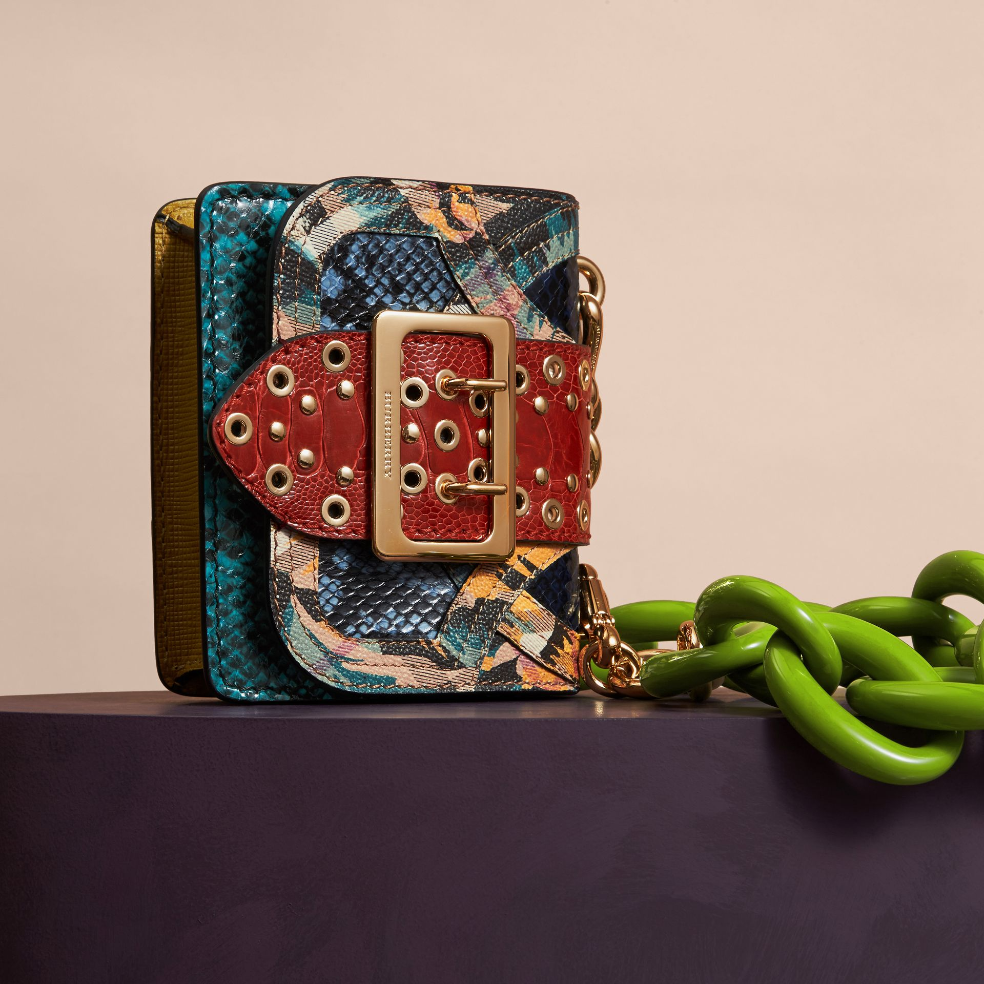 Pewter blue The Mini Square Buckle Bag in Snakeskin, Ostrich and Floral Print - gallery image 6