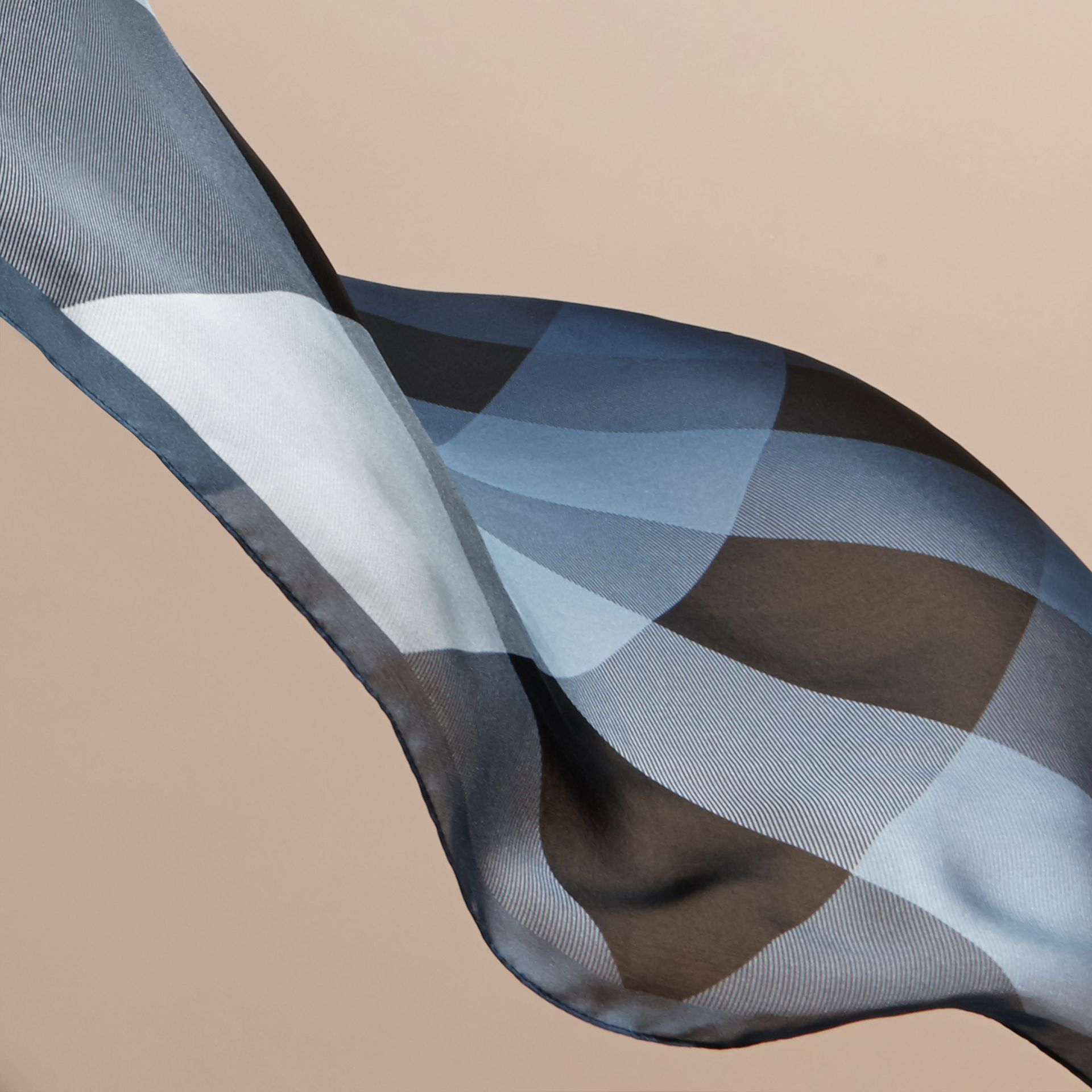 Ombré Washed Check Silk Scarf Dusty Blue - gallery image 4