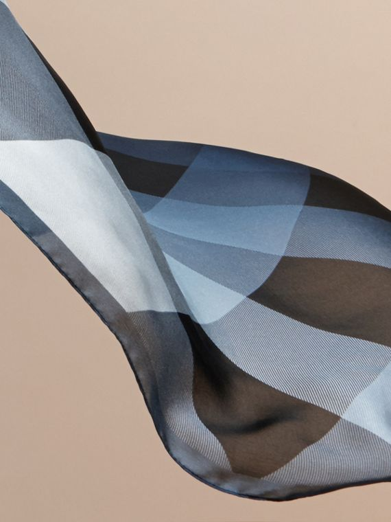 Ombré Washed Check Silk Scarf in Dusty Blue - cell image 3