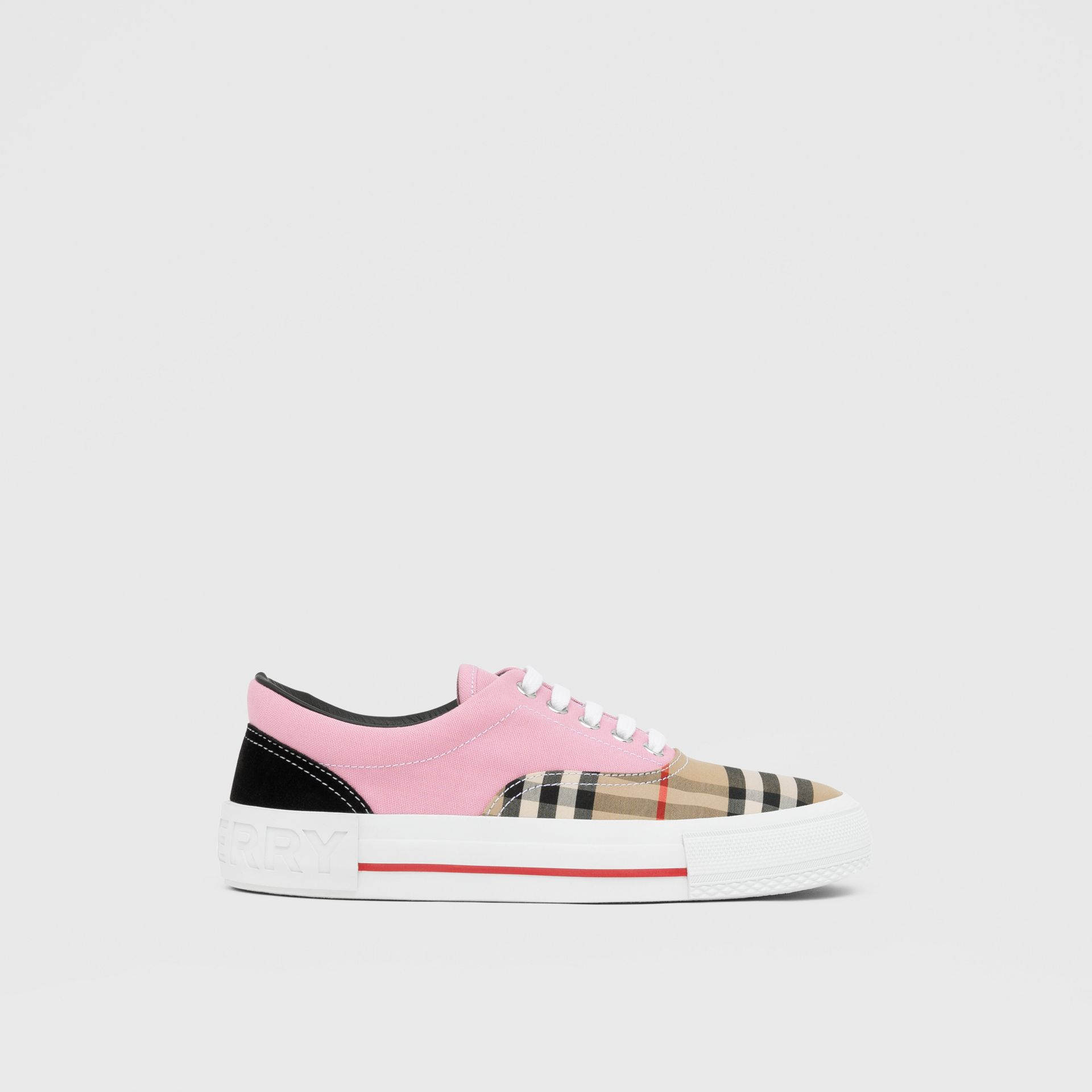 Vintage Check, Cotton Canvas and Suede Sneakers in Archive Beige/pink - Women | Burberry - gallery image 5