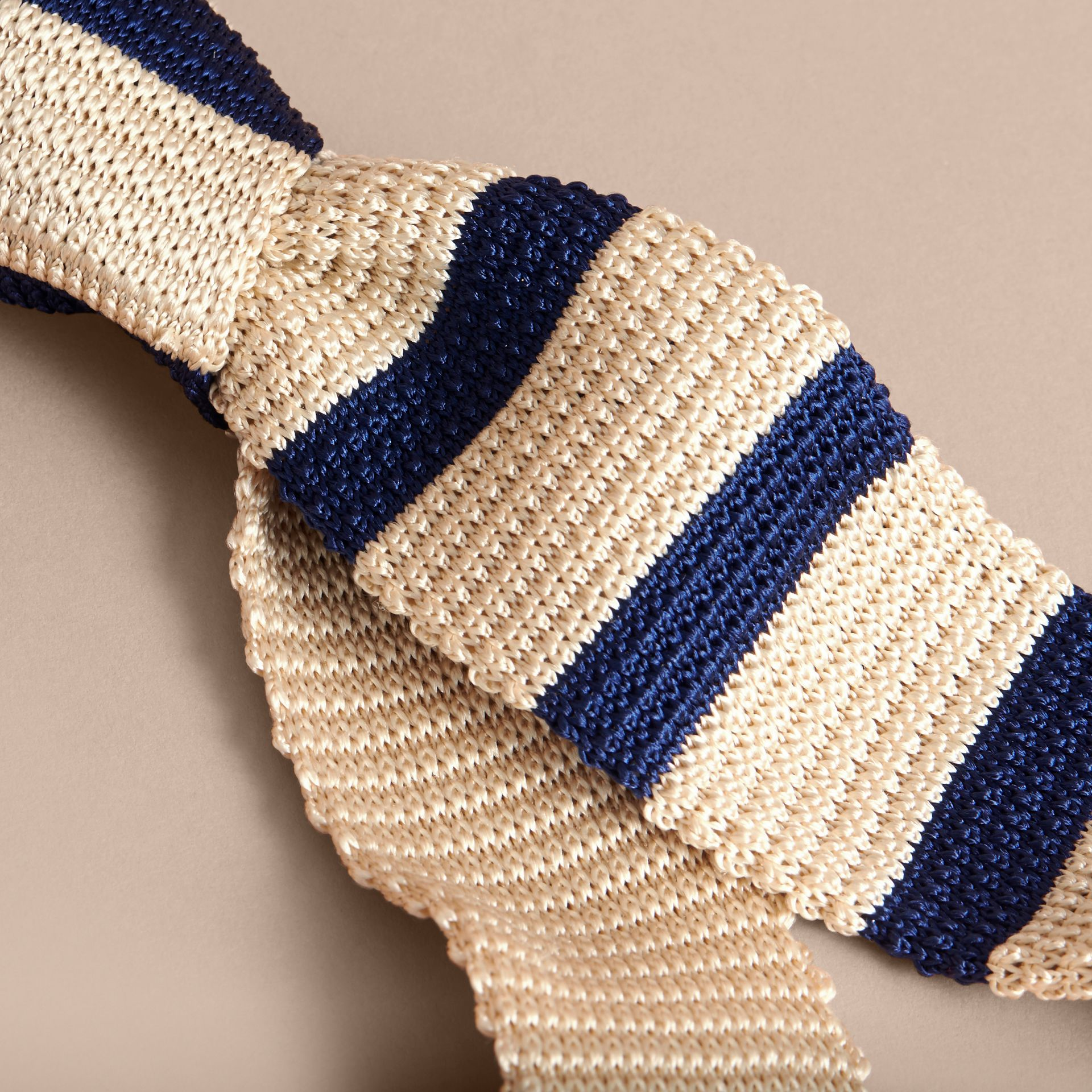 Slim Cut Two-tone Knitted Silk Tie in Limestone - Men | Burberry Singapore - gallery image 2
