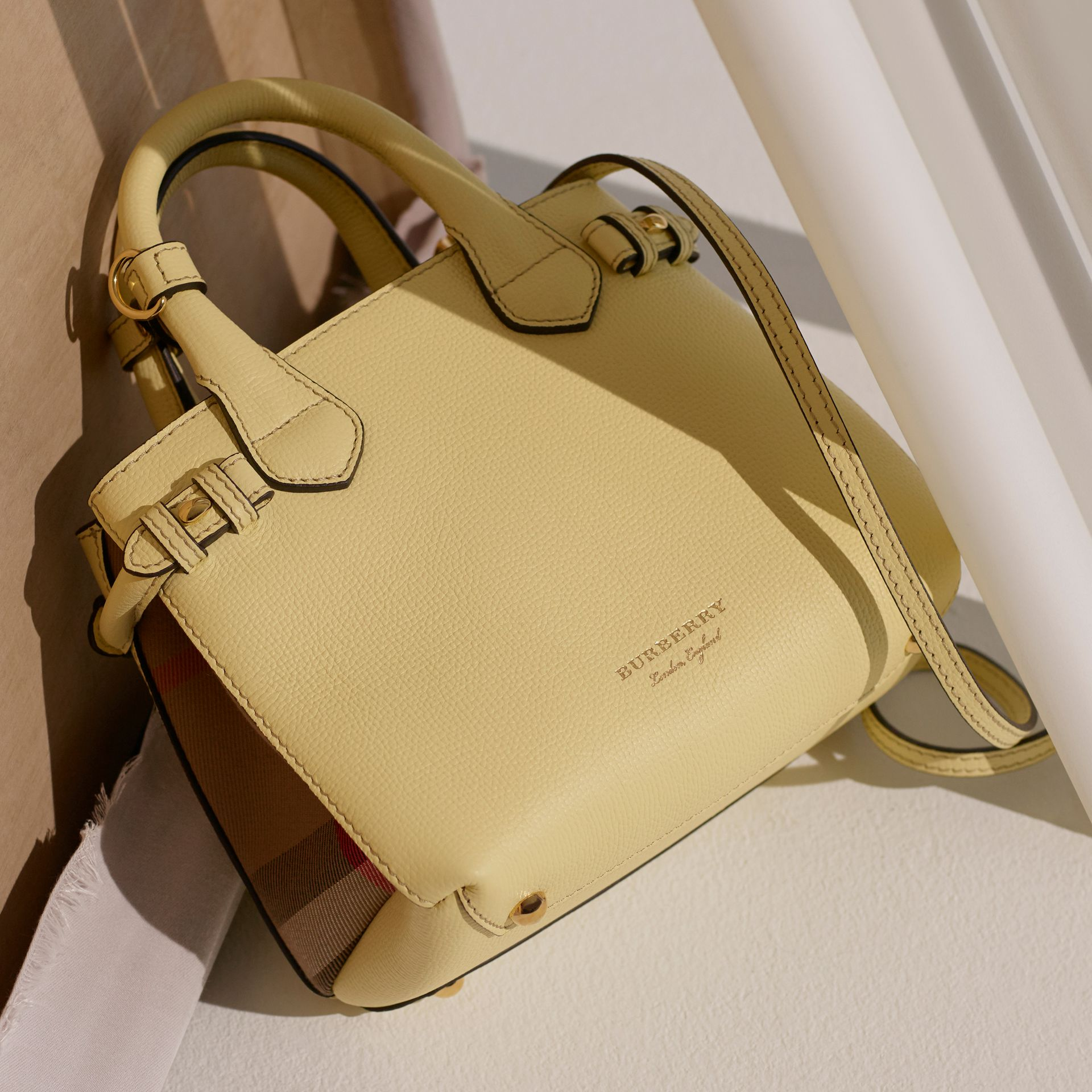 The Baby Banner in Leather and House Check in Camomile Yellow - Women | Burberry - gallery image 9